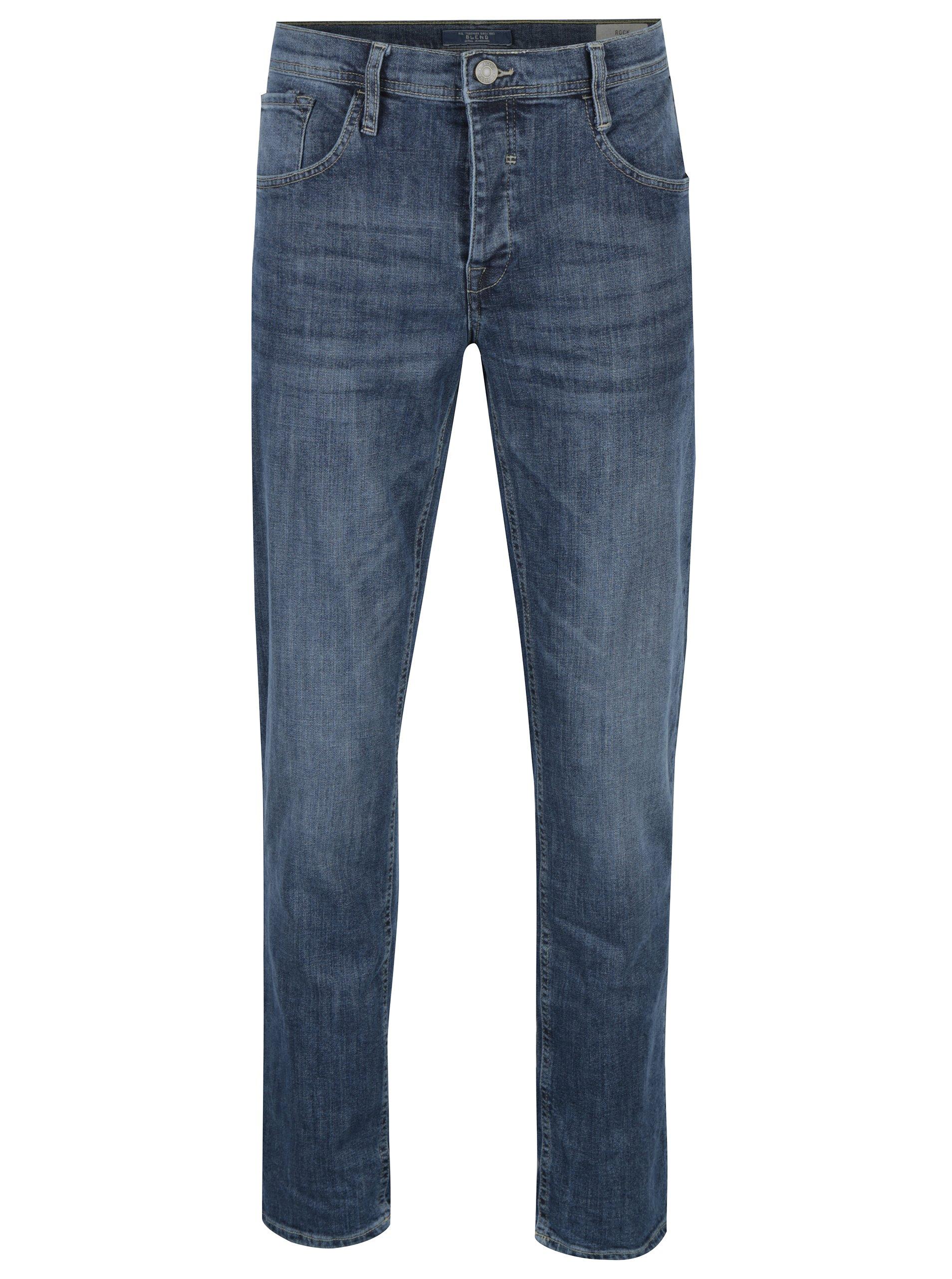 Modré regular džíny s vyšisovaným efektem Blend