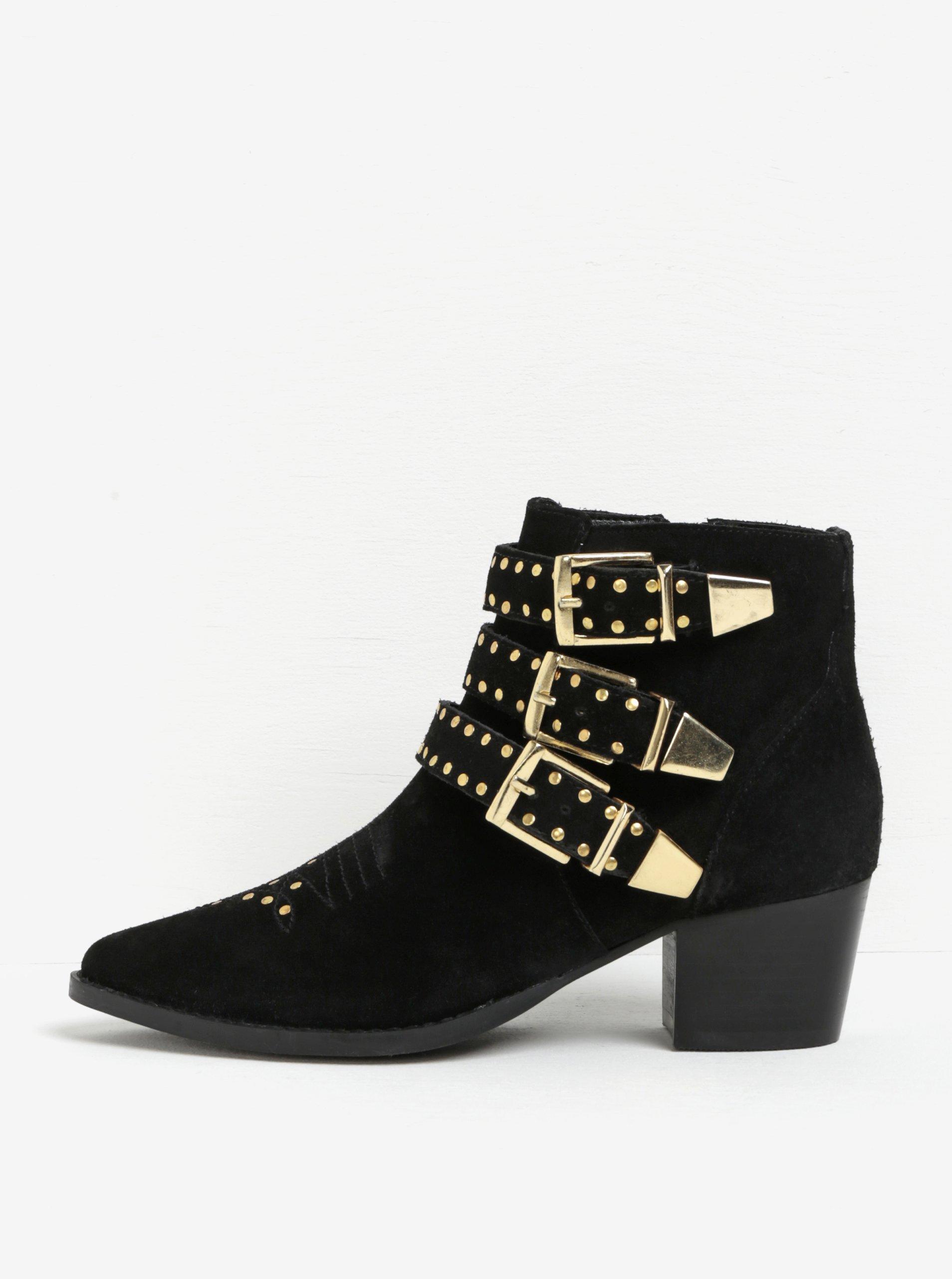 924837ca73f5 Čierne členkové semišové topánky s detailmi v zlatej farbe Miss KG Tiger