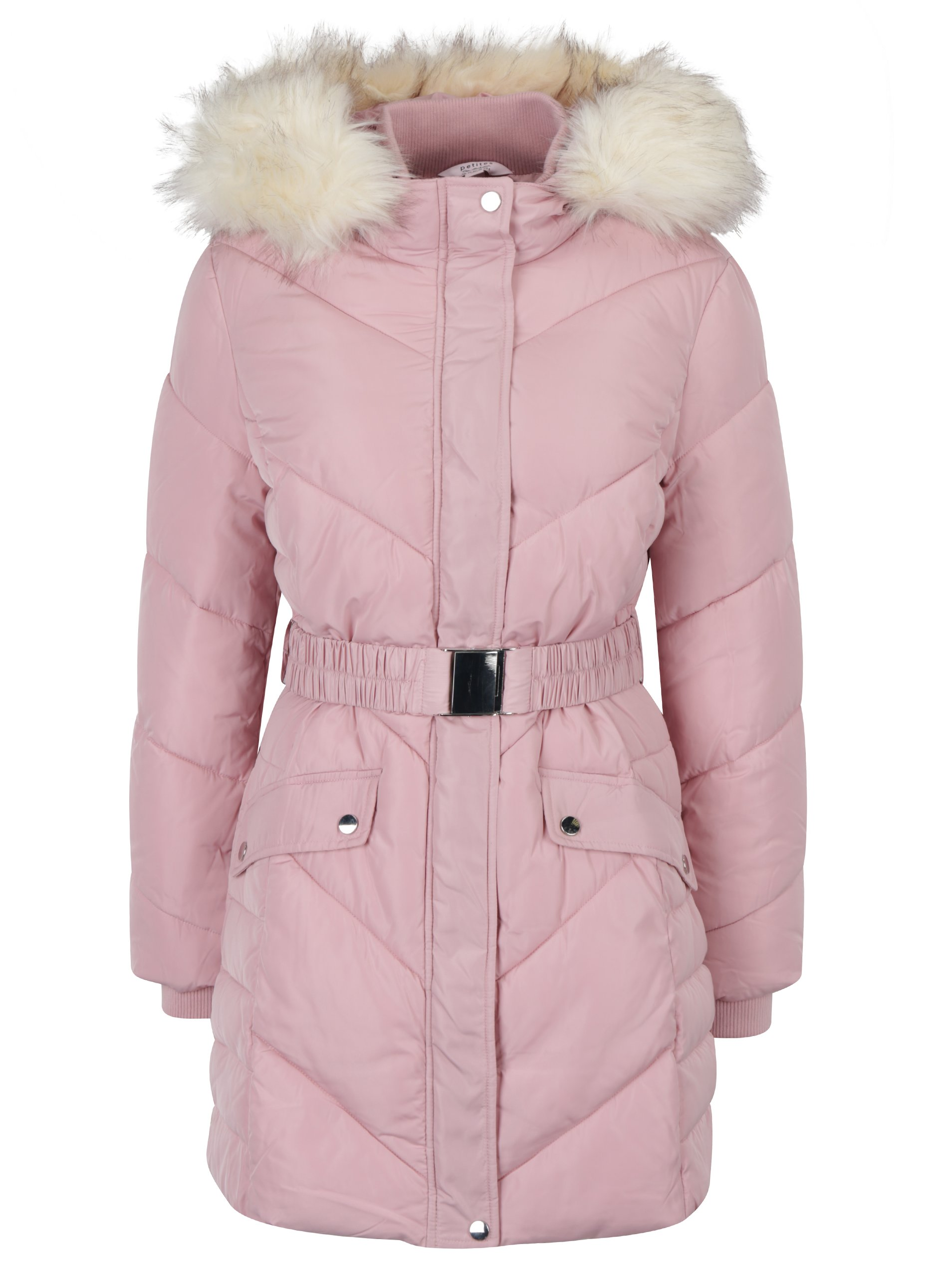 Růžový prošívaný kabát s páskem Miss Selfridge
