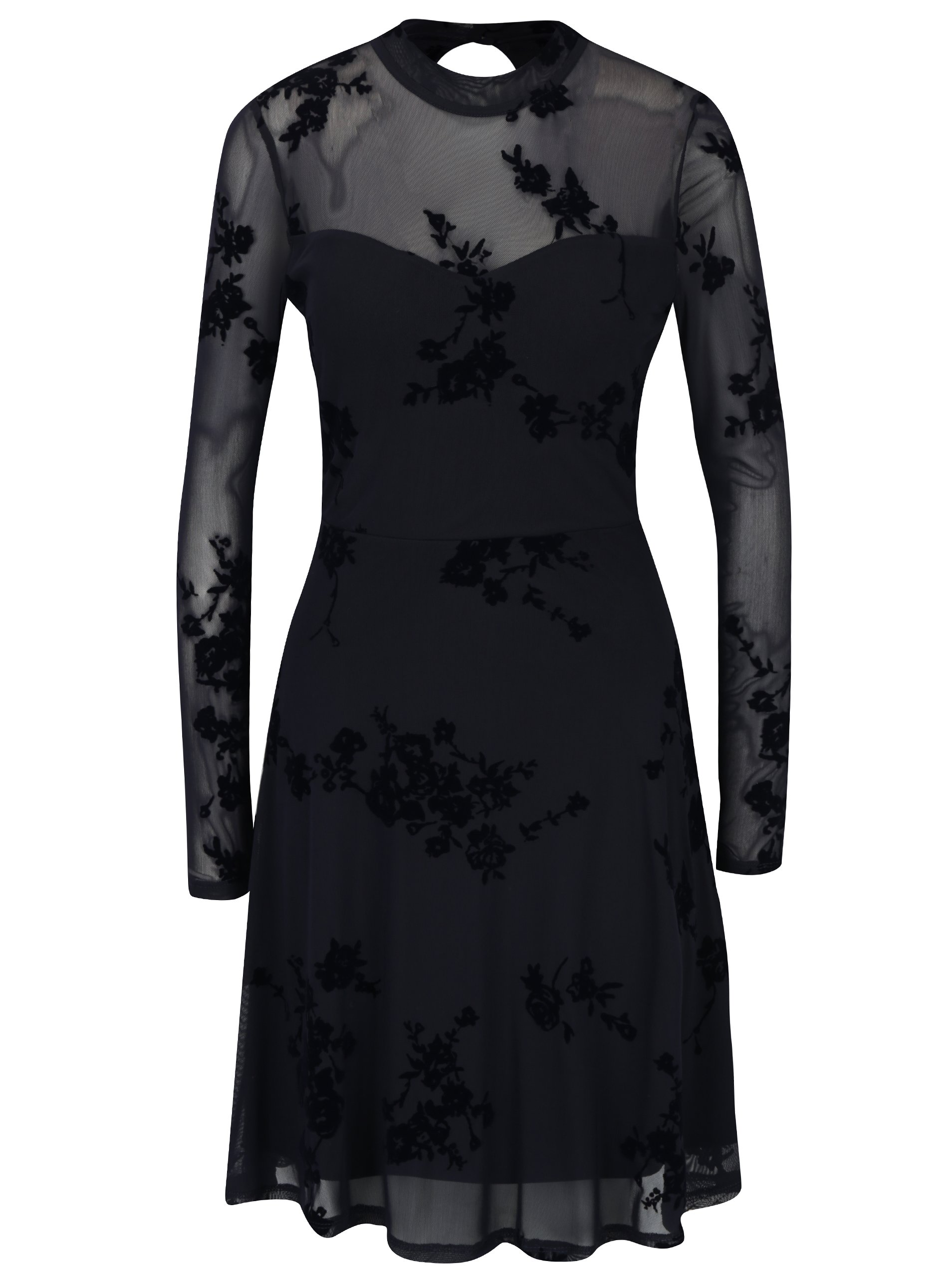 Tmavě modré květované šaty ONLY Nadi