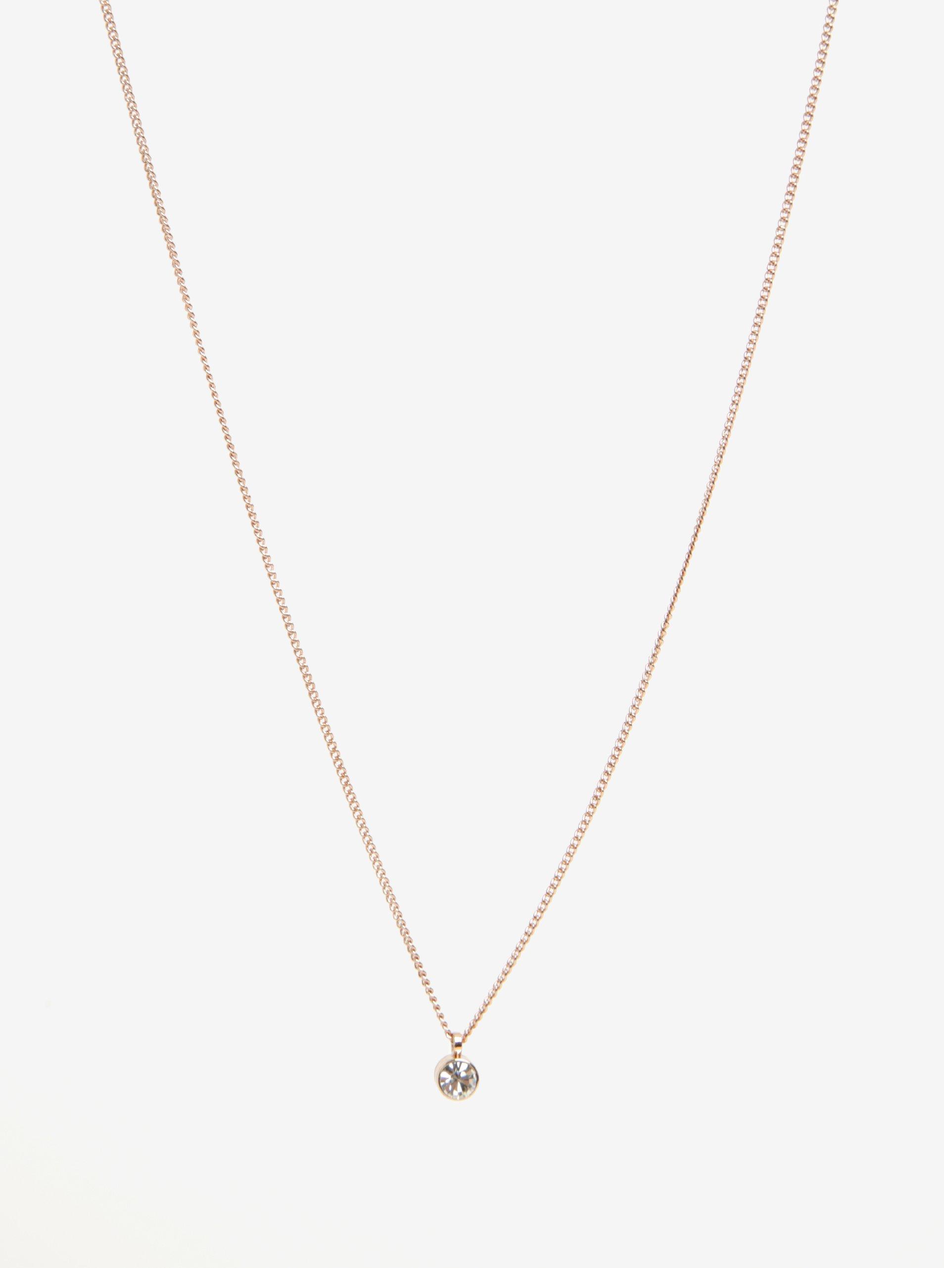 Pozlacený řetízek v růžovozlaté barvě s krystalovým kamenem Pilgrim