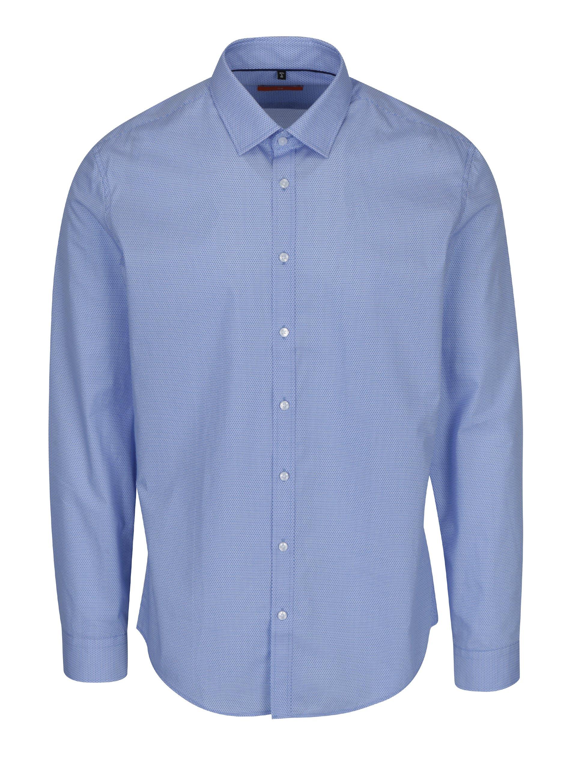Světle modrá vzorovaná slim fit košile Seidensticker