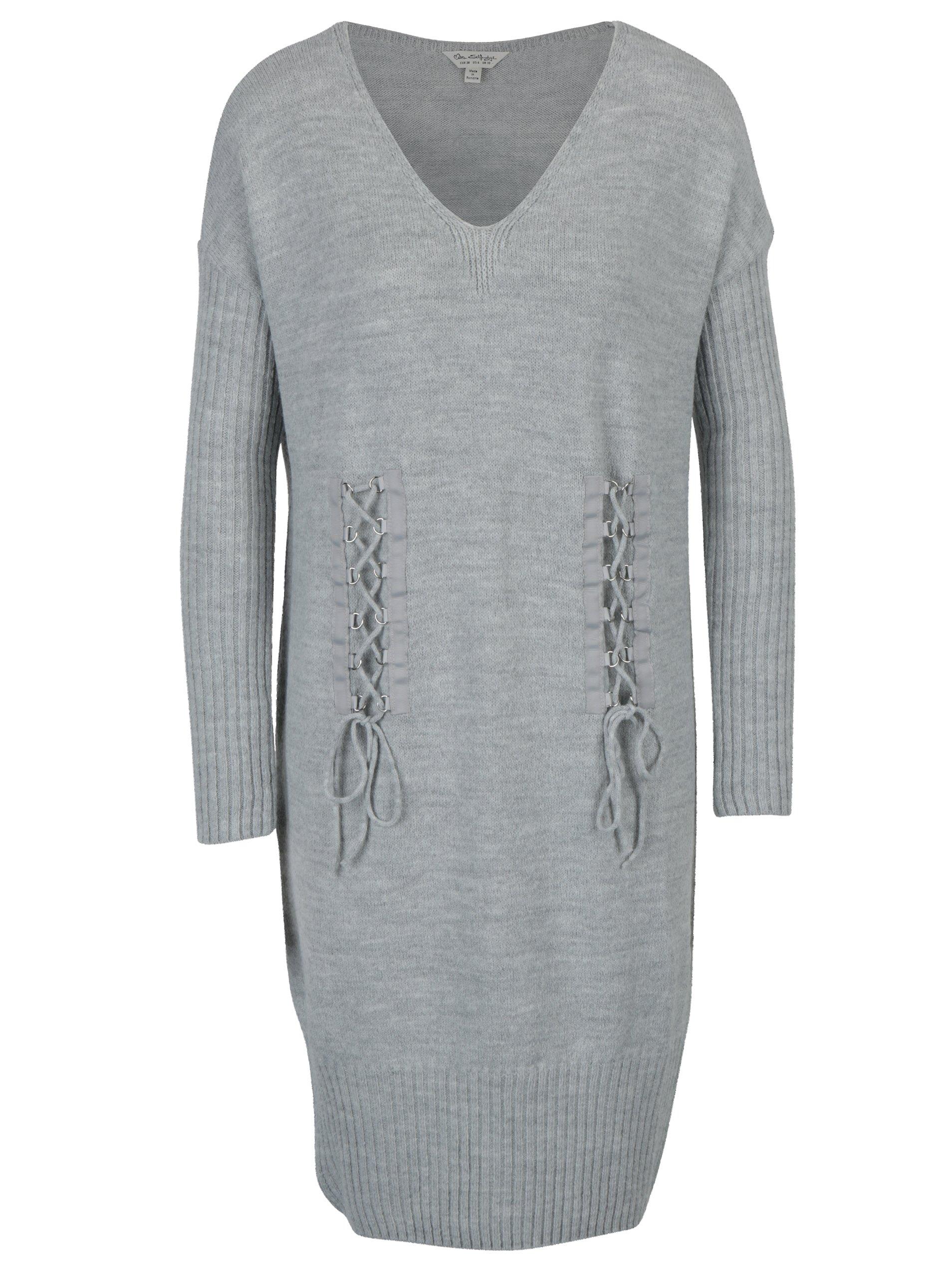 Světle šedé žíhané pletené šaty s dlouhým rukávem Miss Selfridge