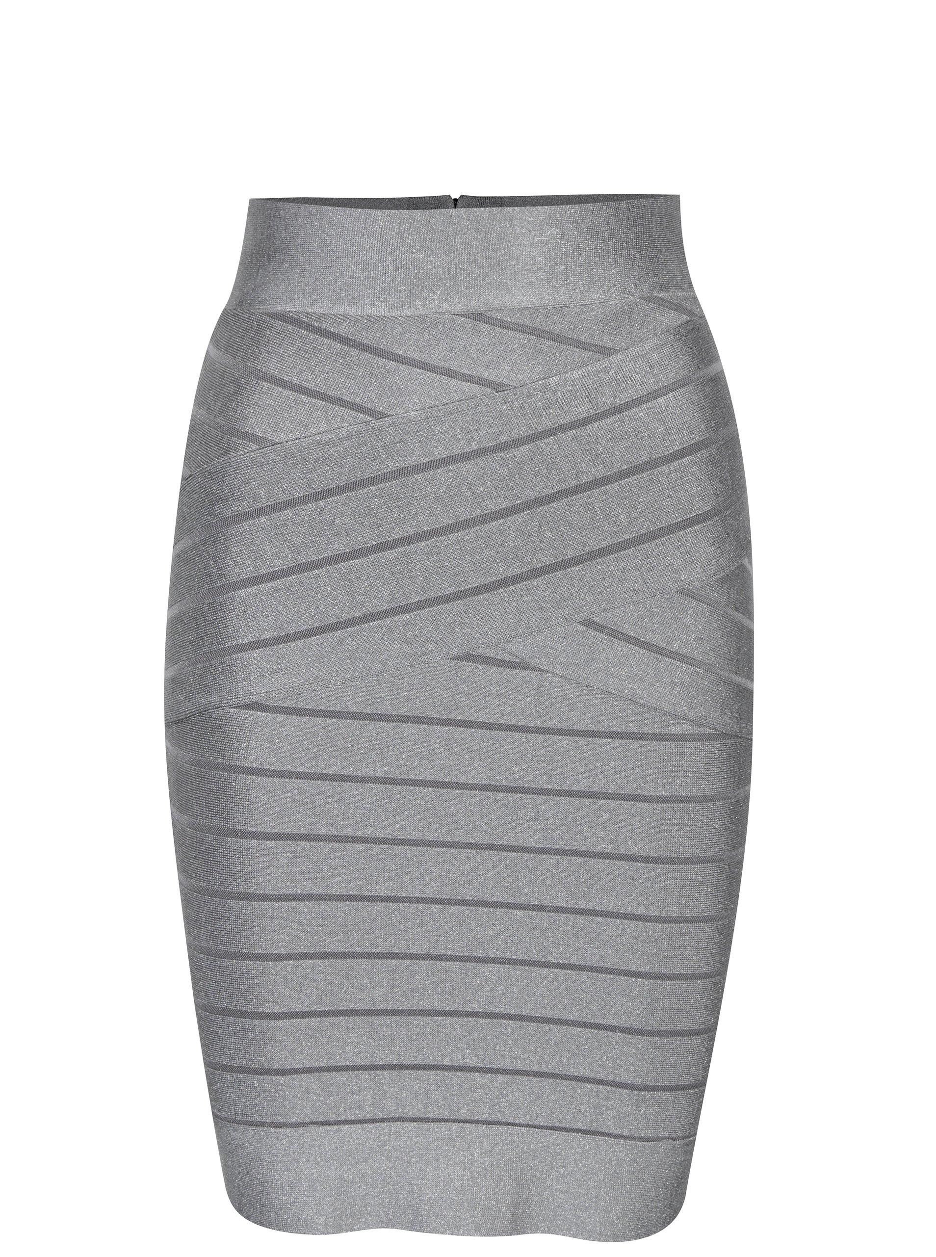 Sivá metalická puzdrová sukňa French Connection