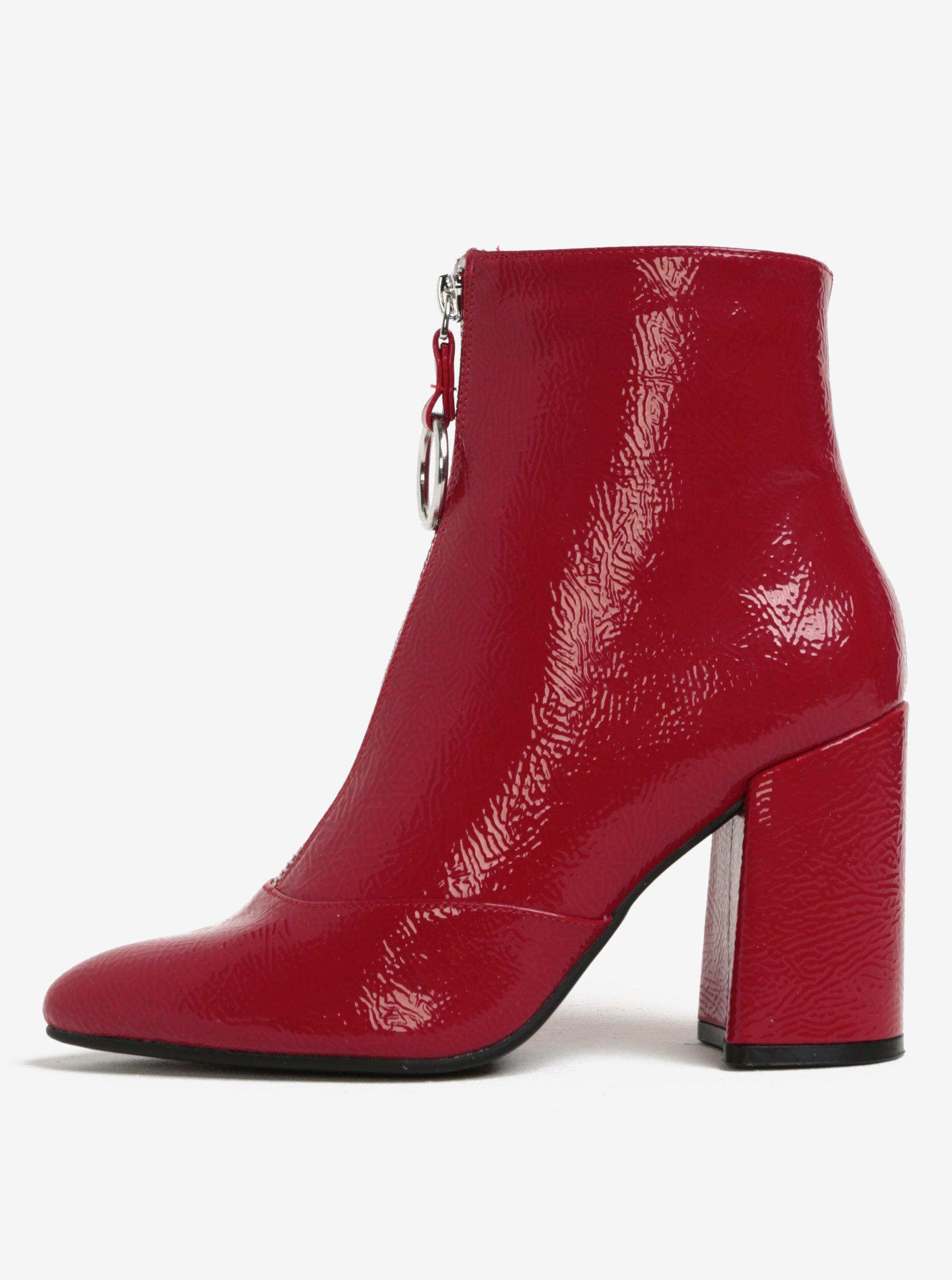 Červené kotníkové boty na podpatku Miss Selfridge
