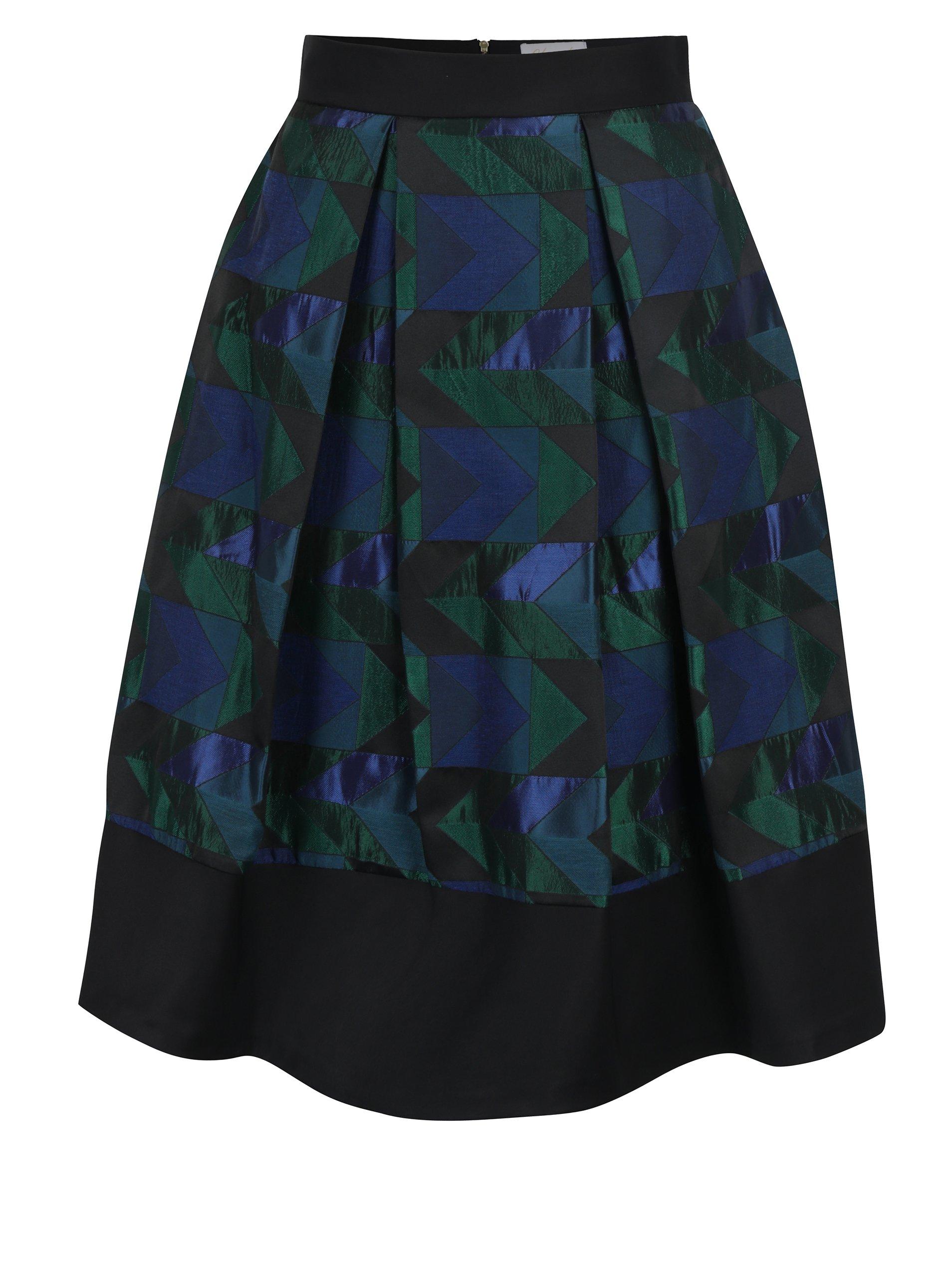 Zeleno-černá vzorovaná áčková sukně Closet