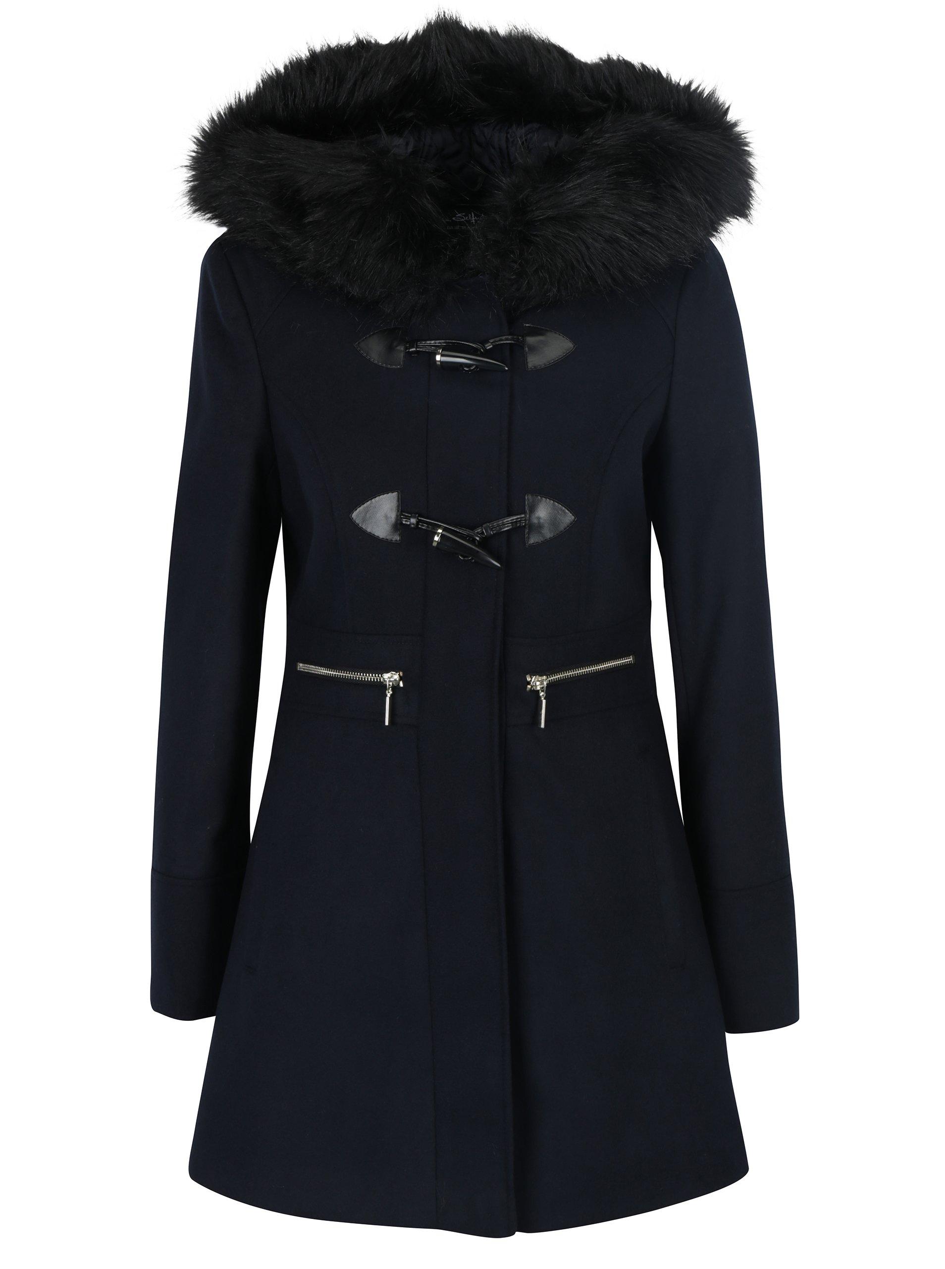 Tmavě modrý kabát s kapucí Miss Selfridge