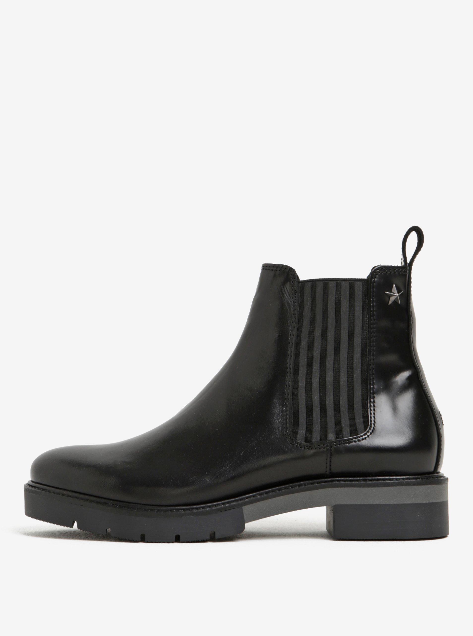 Černé dámské kožené chelsea boty Tommy Hilfiger Roxana