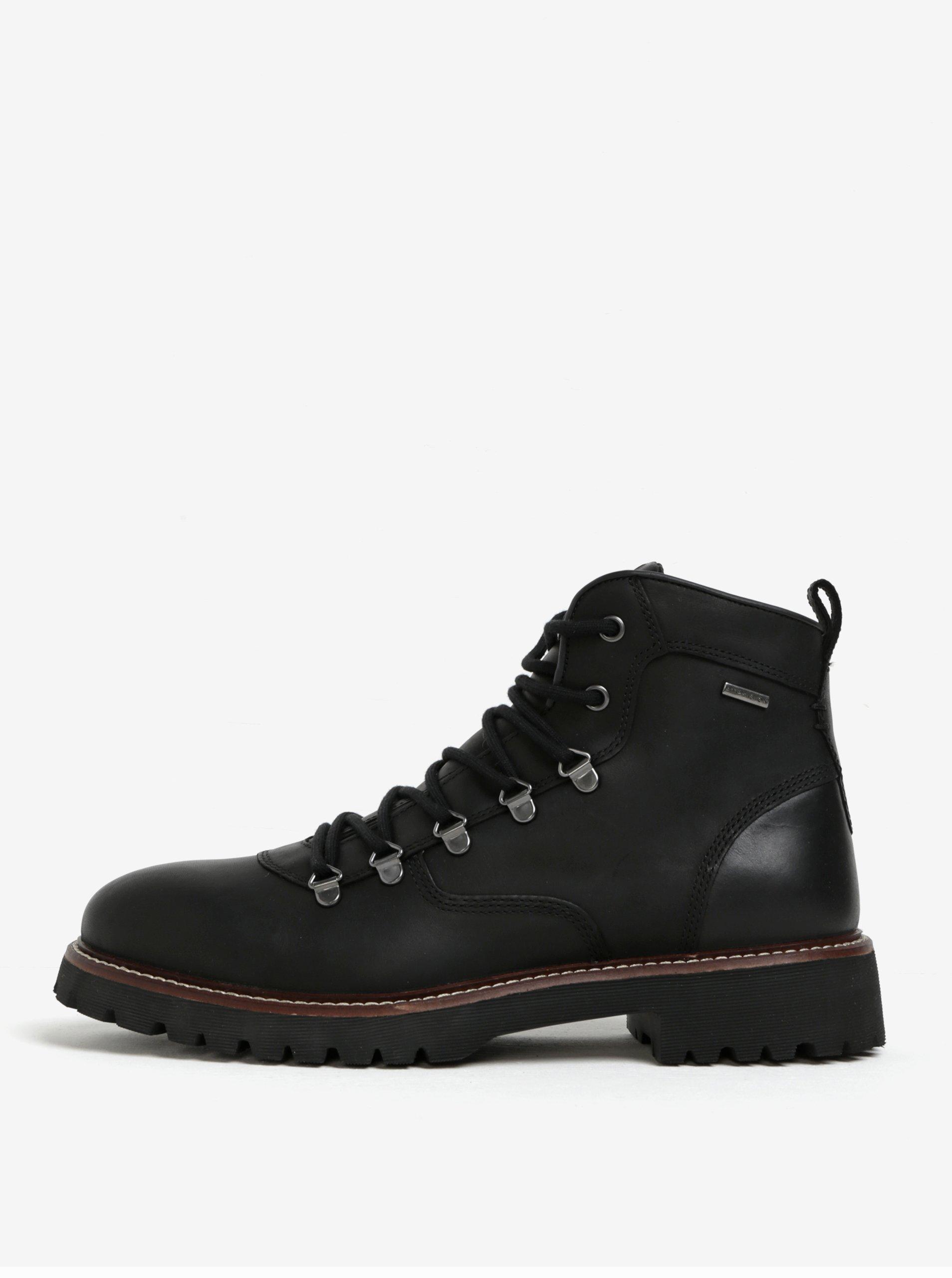997adbdf9a Čierne pánske členkové kožené vodovzdorné topánky Geox Kieven