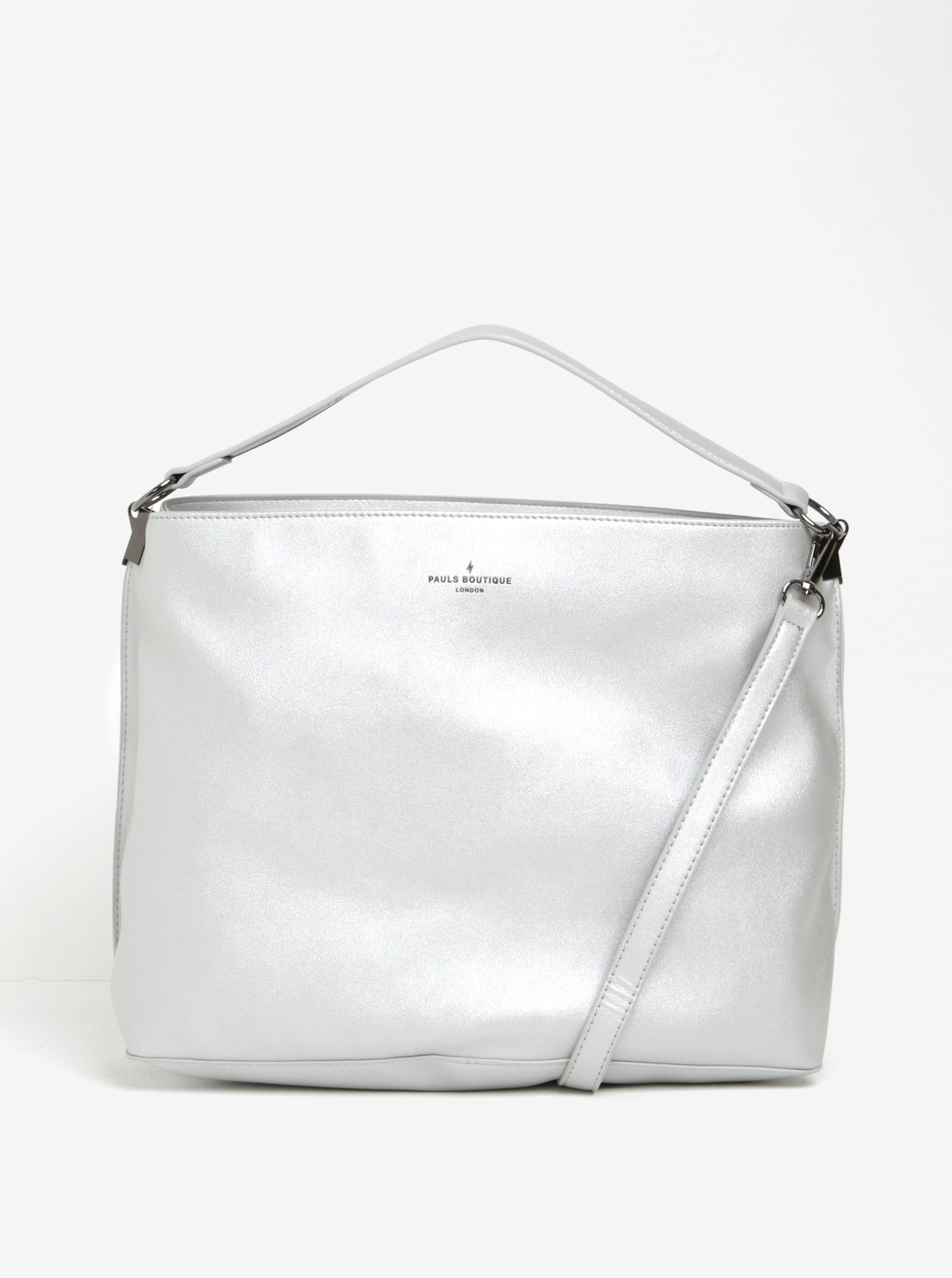 Stříbrná kabelka s odnímatelným popruhem a neonovým vnitřkem Paul's Boutique Iris