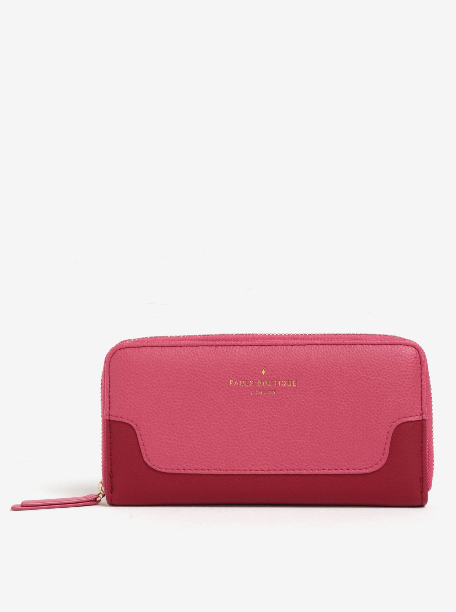 Červeno-růžová peněženka na zip Paul's Boutique Caroline