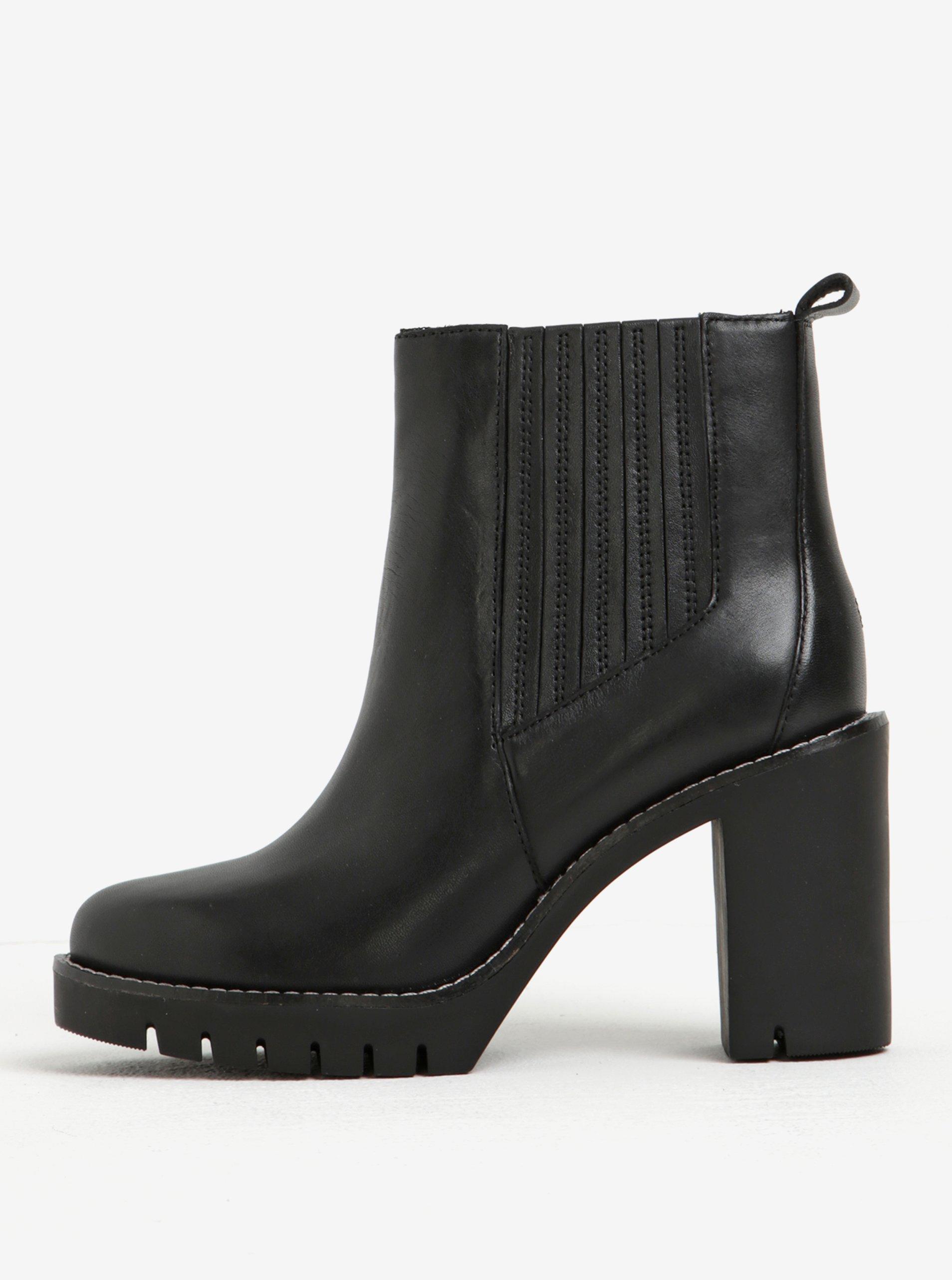 Černé dámské kožené chelsea boty na vysokém podpatku Tommy Hilfiger Paola
