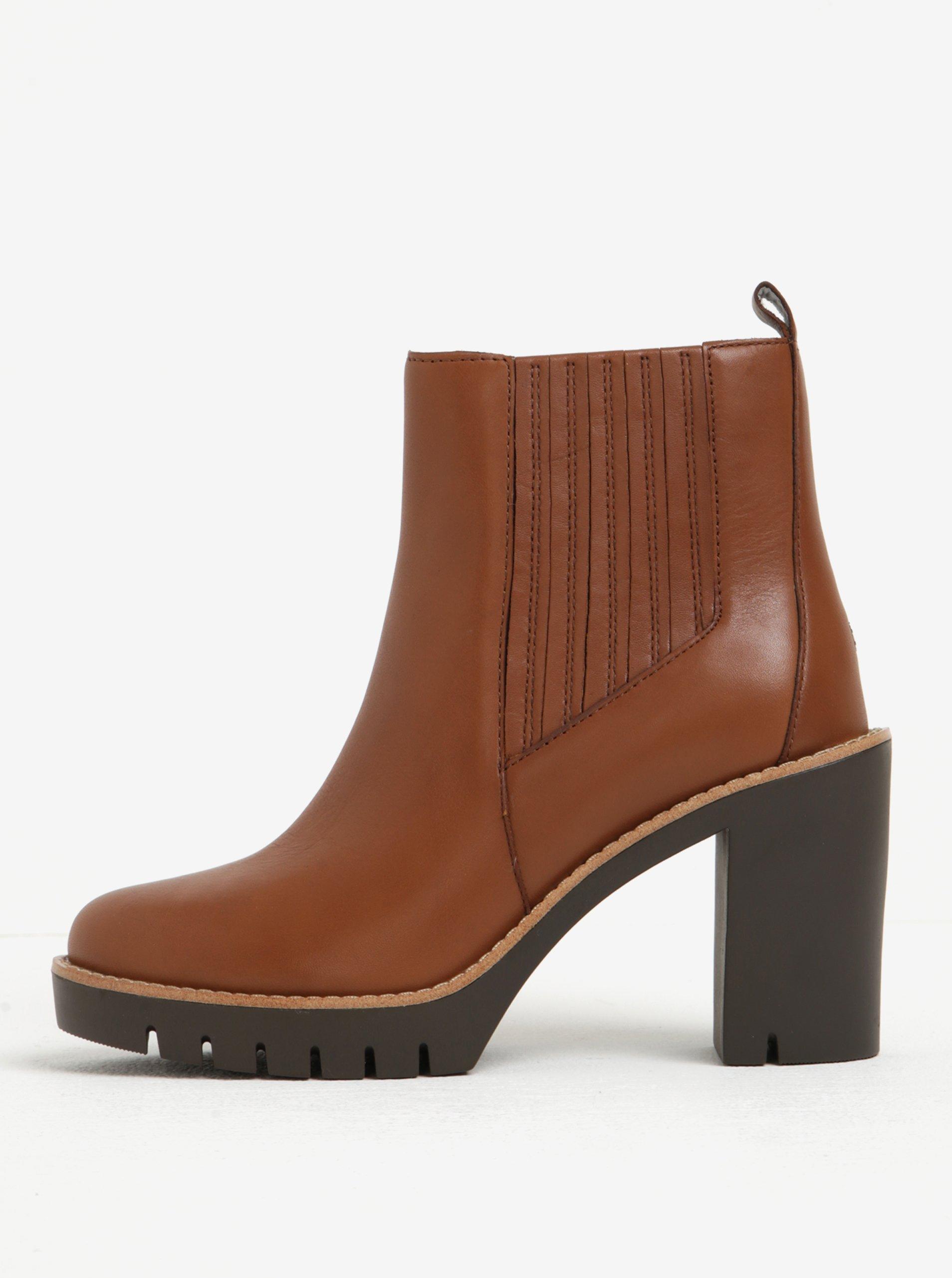 Hnědé dámské kožené chelsea boty na vysokém podpatku Tommy Hilfiger Paola