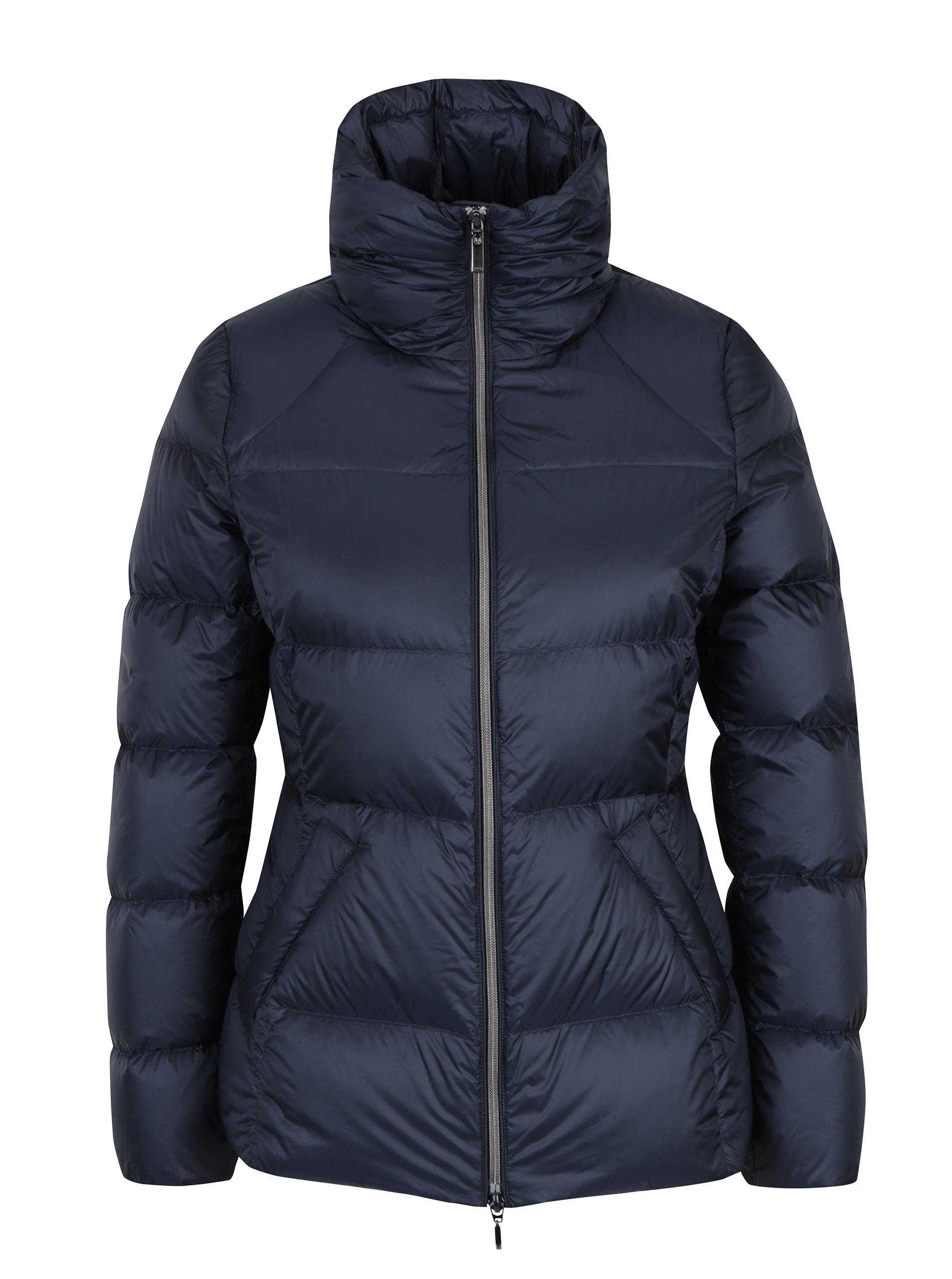 Tmavě modrá dámská prošívaná péřová bunda Geox