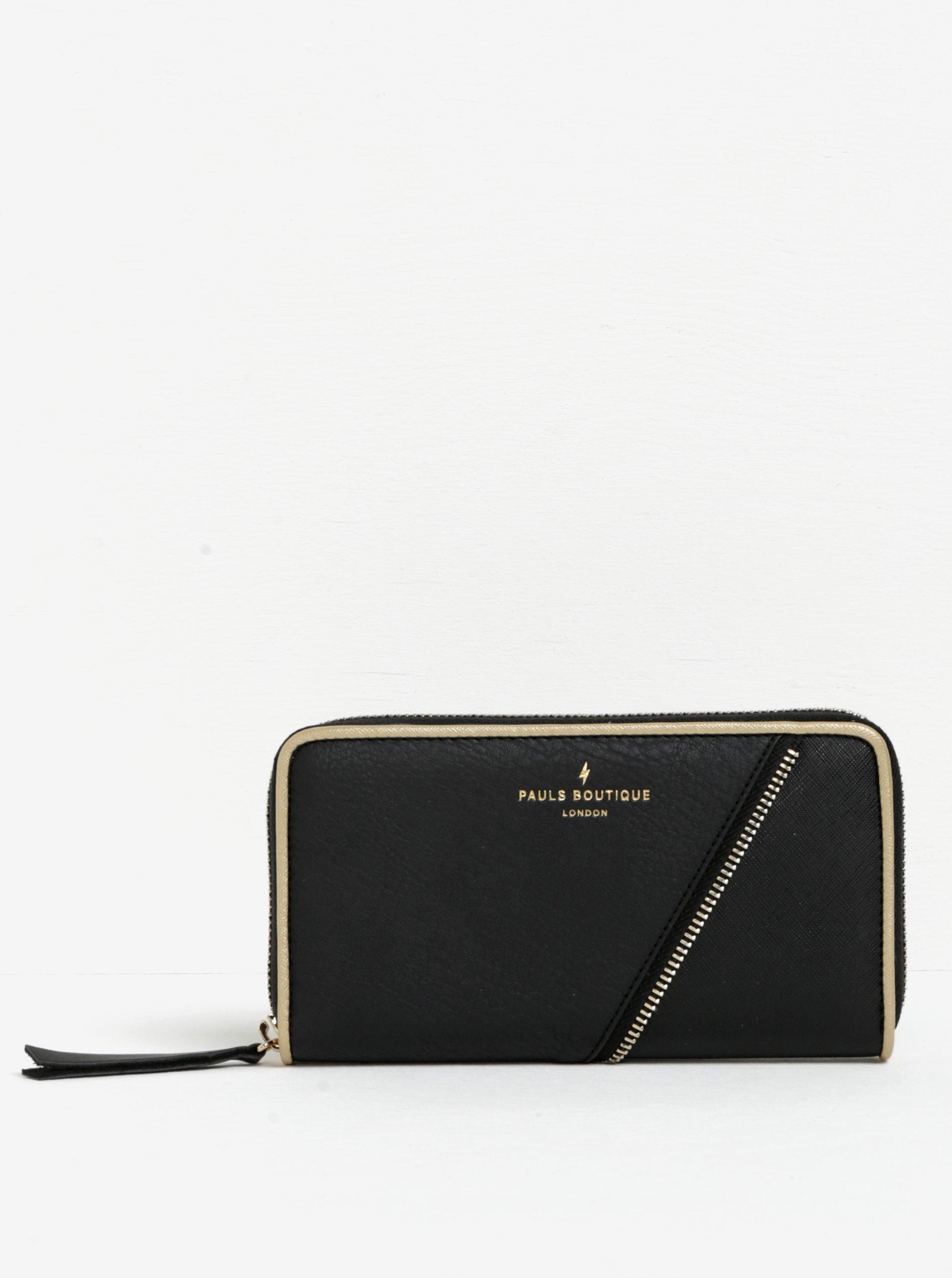 Černá peněženka s detaily ve zlaté barvě Paul's Boutique Lizzie