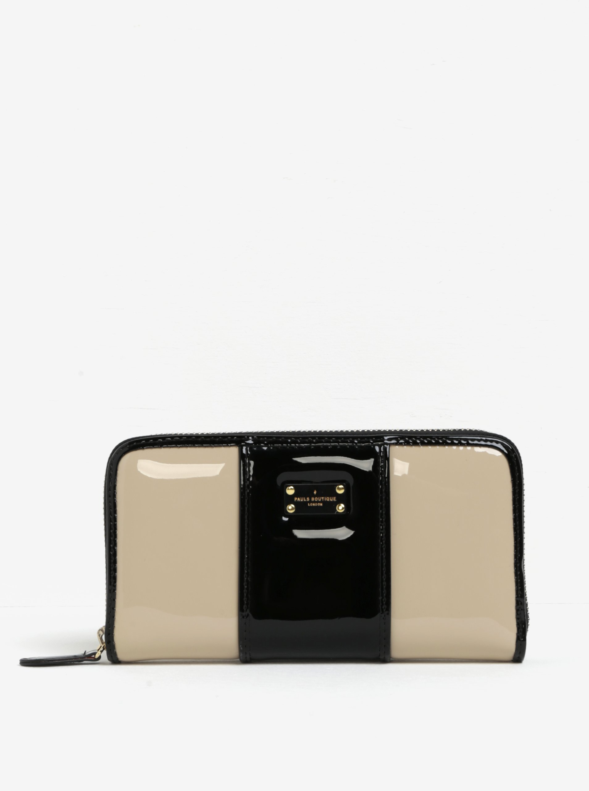 Béžovo-černá lesklá peněženka s neonovým vnitřkem Paul's Boutique Lizzie