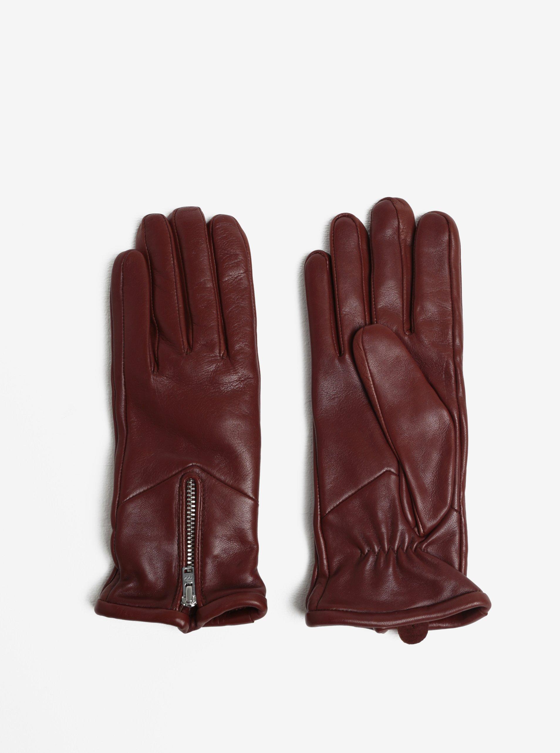 Hnědé dámské kožené rukavice se zipem a kašmírovou podšívkou Royal RepubliQ