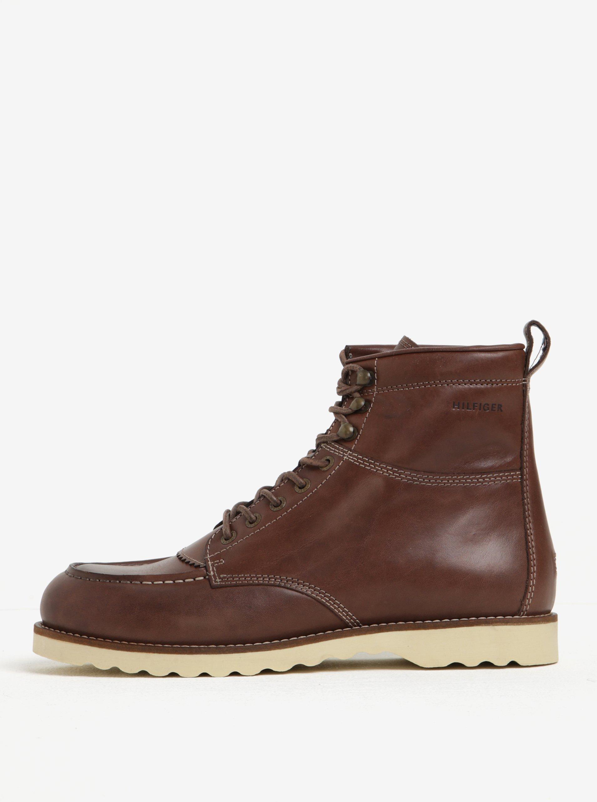 Tmavě hnědé pánské kožené kotníkové boty Tommy Hilfiger Rudy