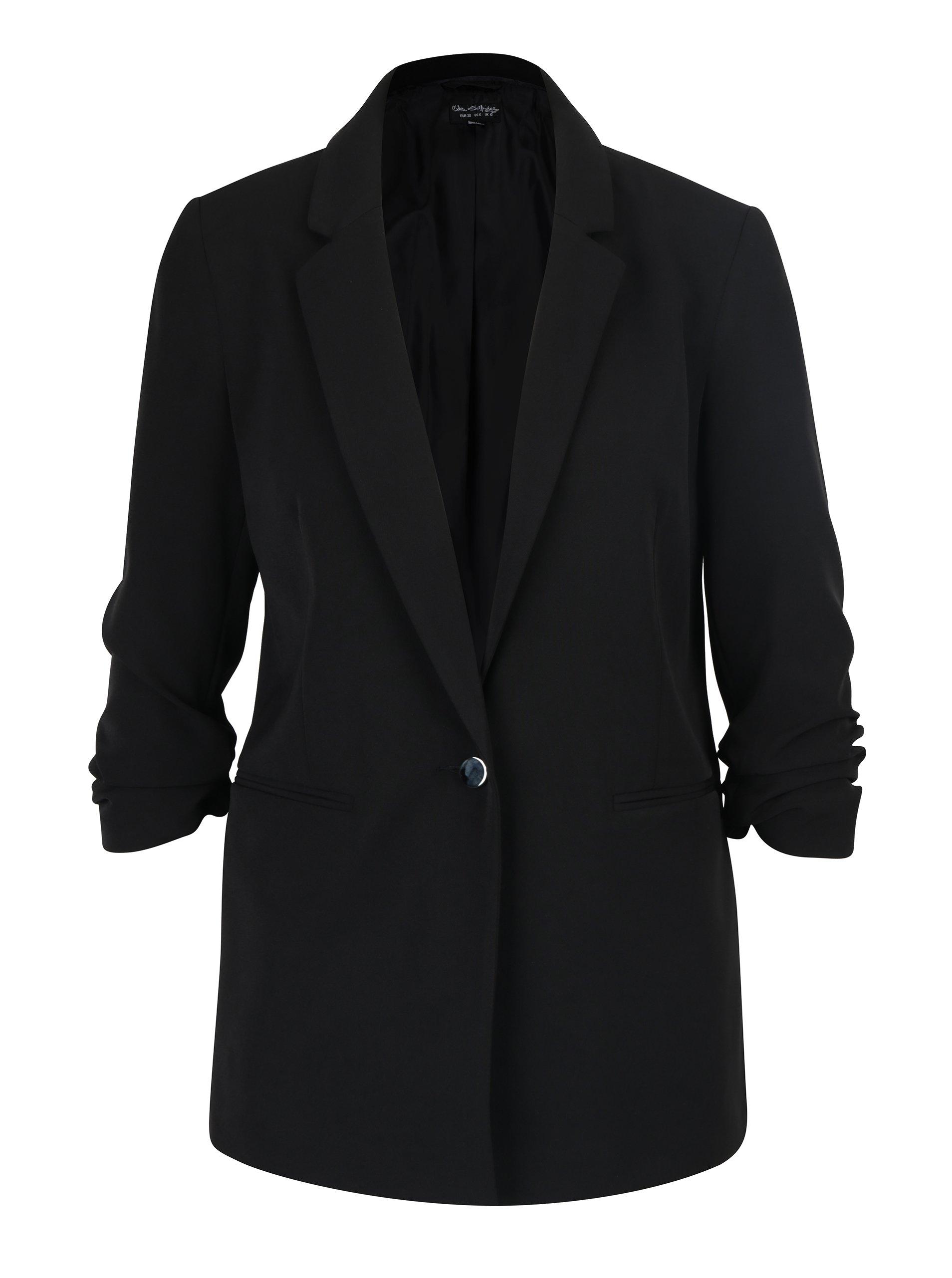 Černé sako s nařaseným rukávem Miss Selfridge