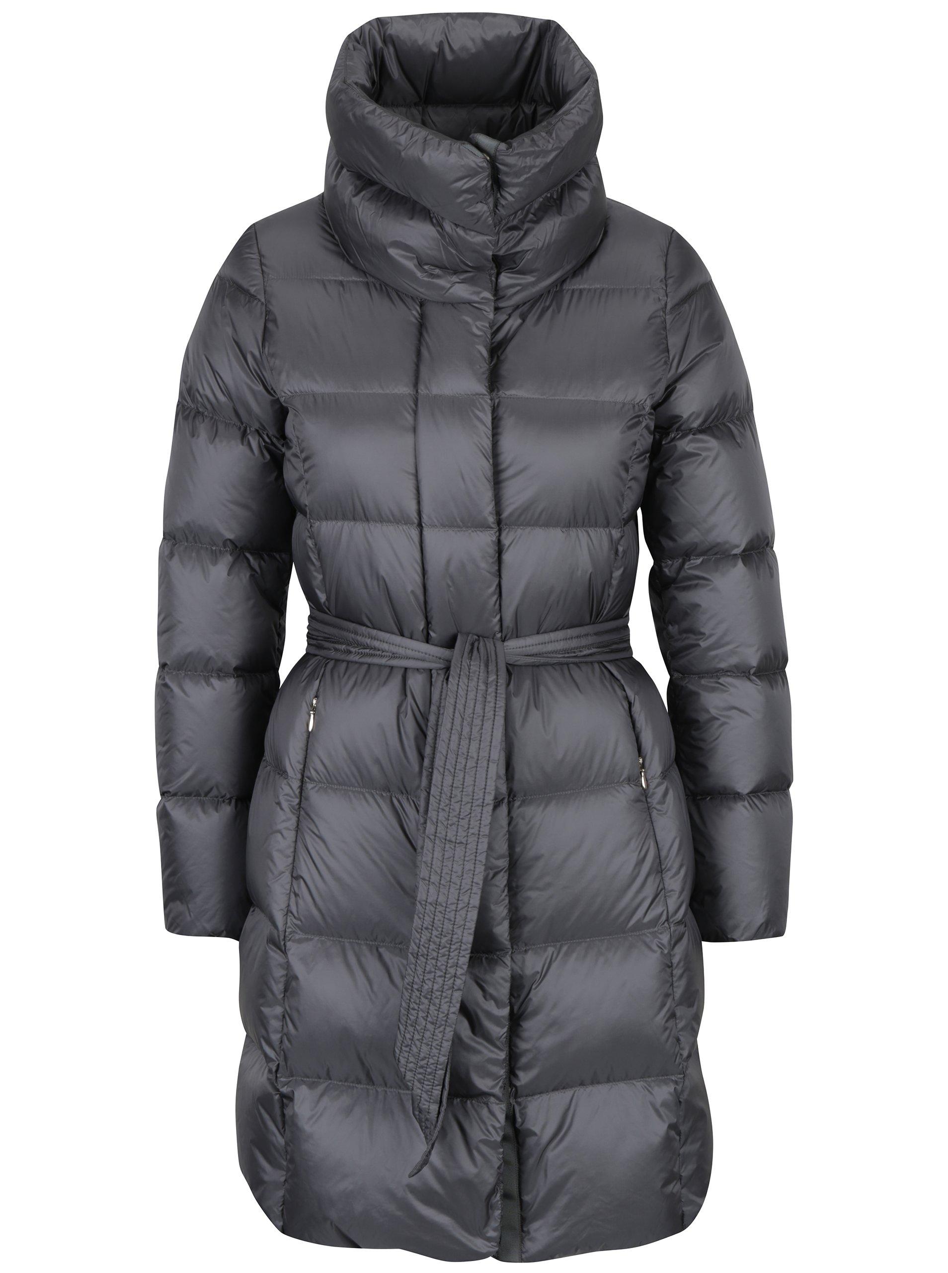 Šedý dámský prošívaný kabát s odepínatelnou kapucí Geox