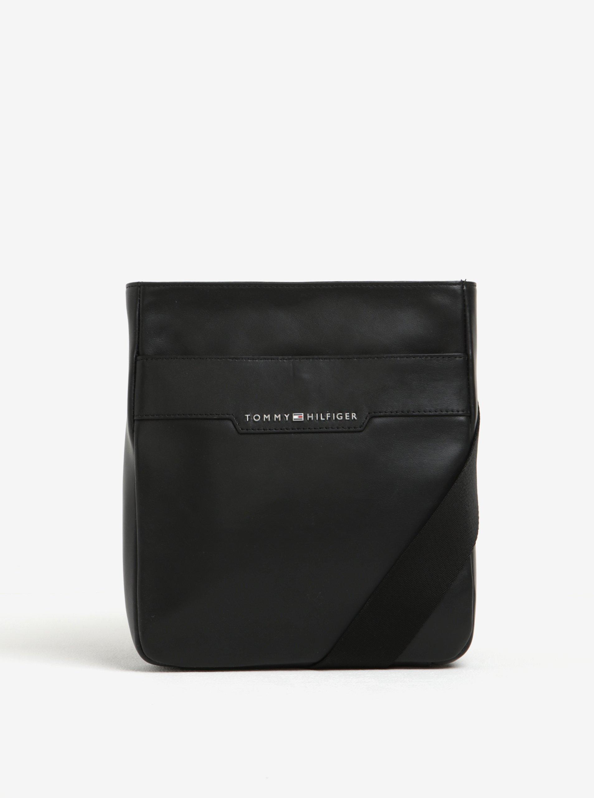 Černá pánská kožená crossbody taška Tommy Hilfiger Smooth