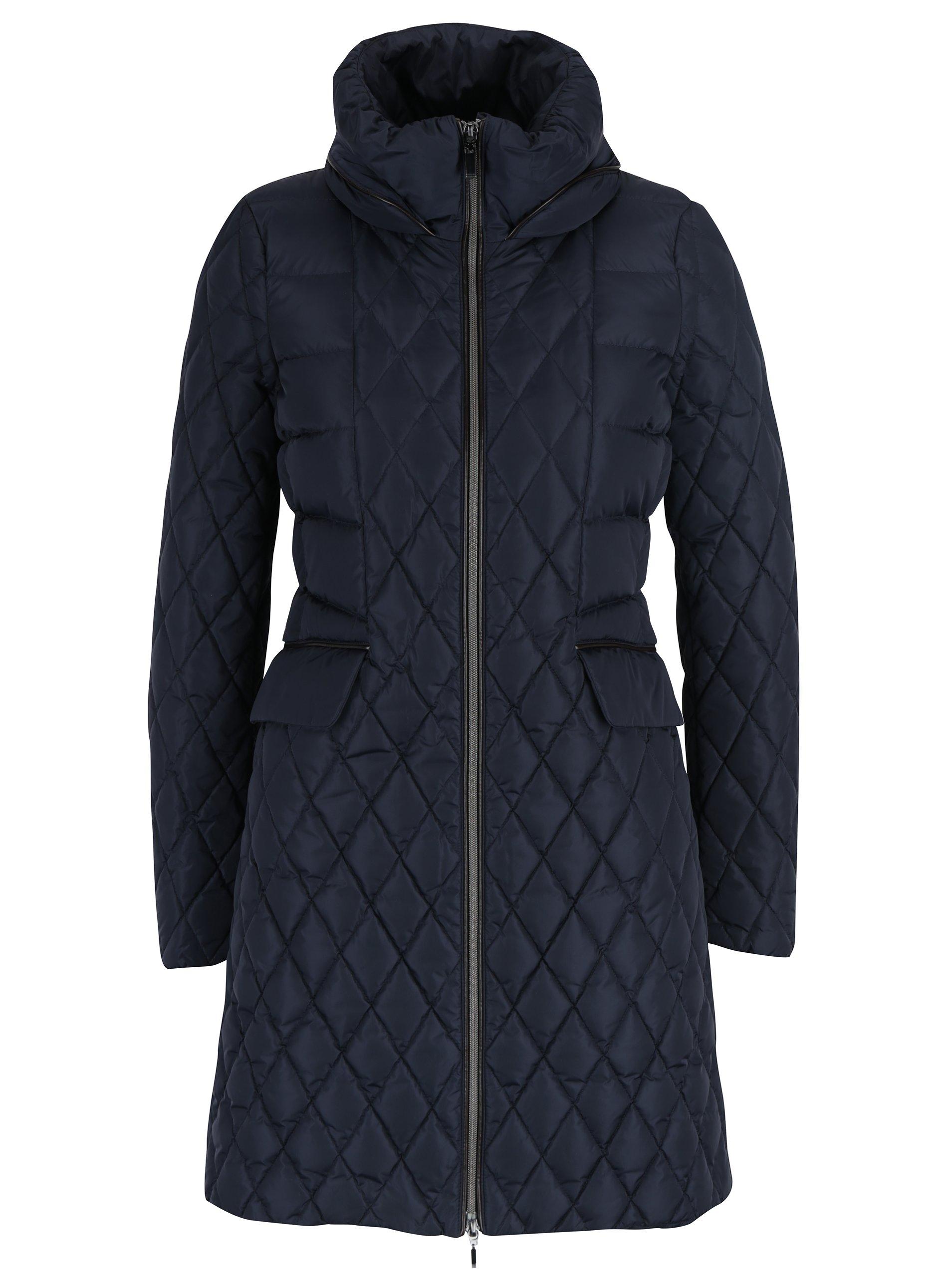 Tmavě modrý dámský prošívaný kabát se skrytou kapucí Geox