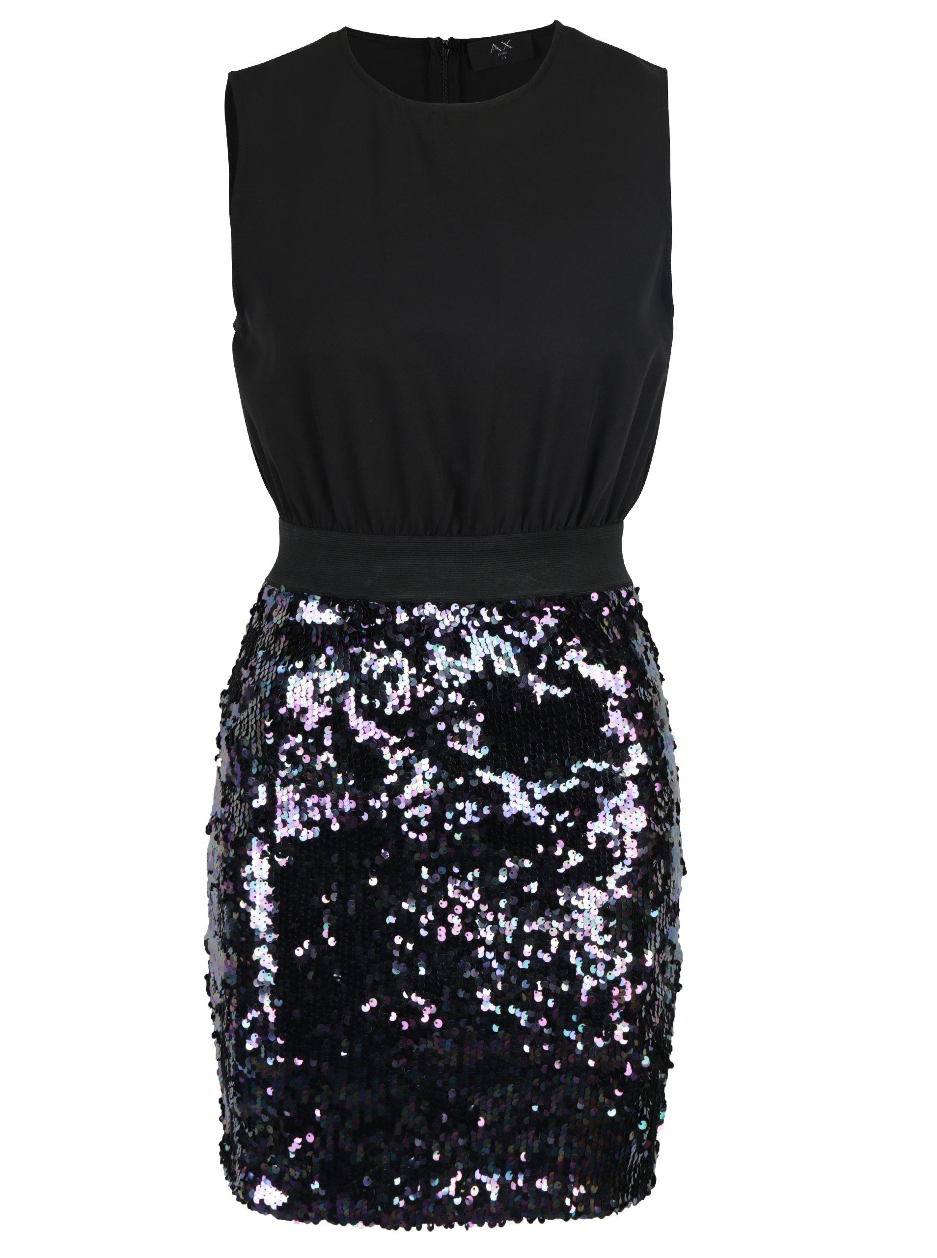 Čierne puzdrové šaty s flitrovanou sukňou AX Paris