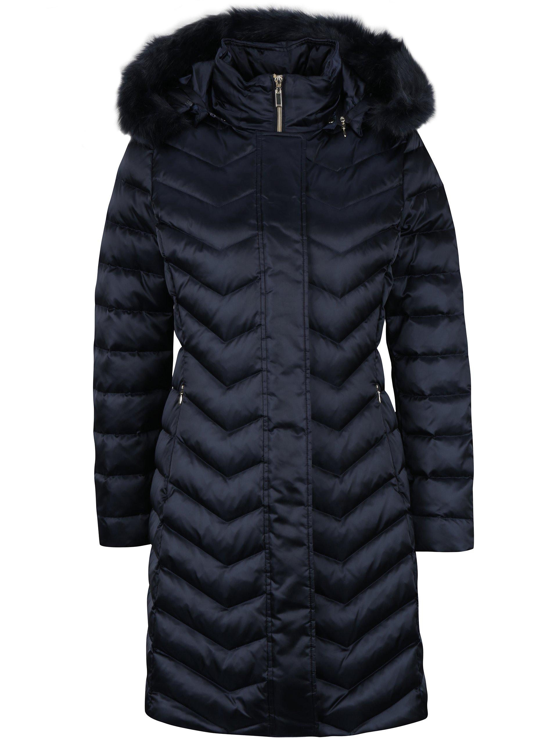 Tmavě modrý dámský prošívaný péřový kabát Geox