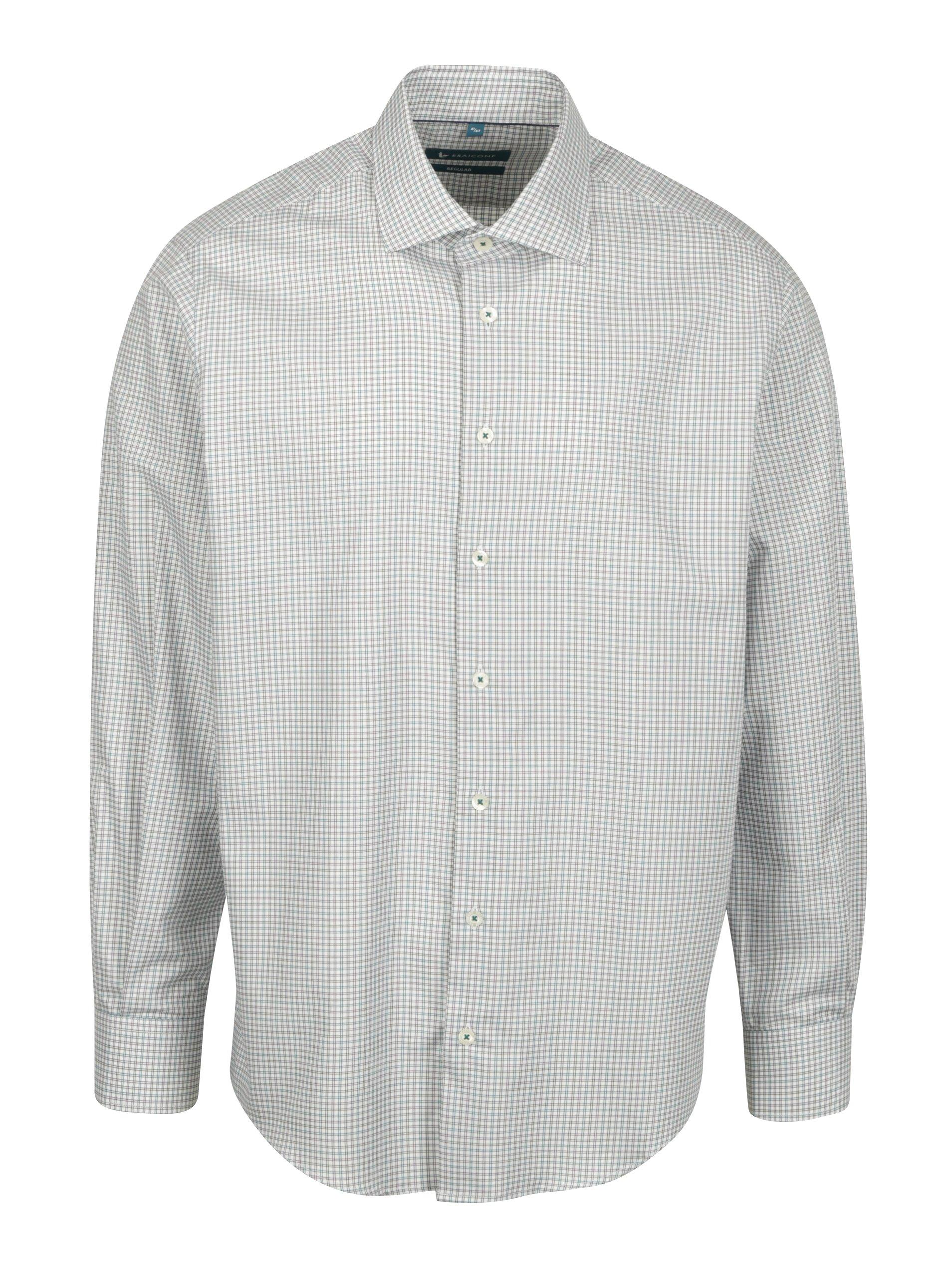Krémová vzorovaná neformální regular fit košile Braiconf Nicoara