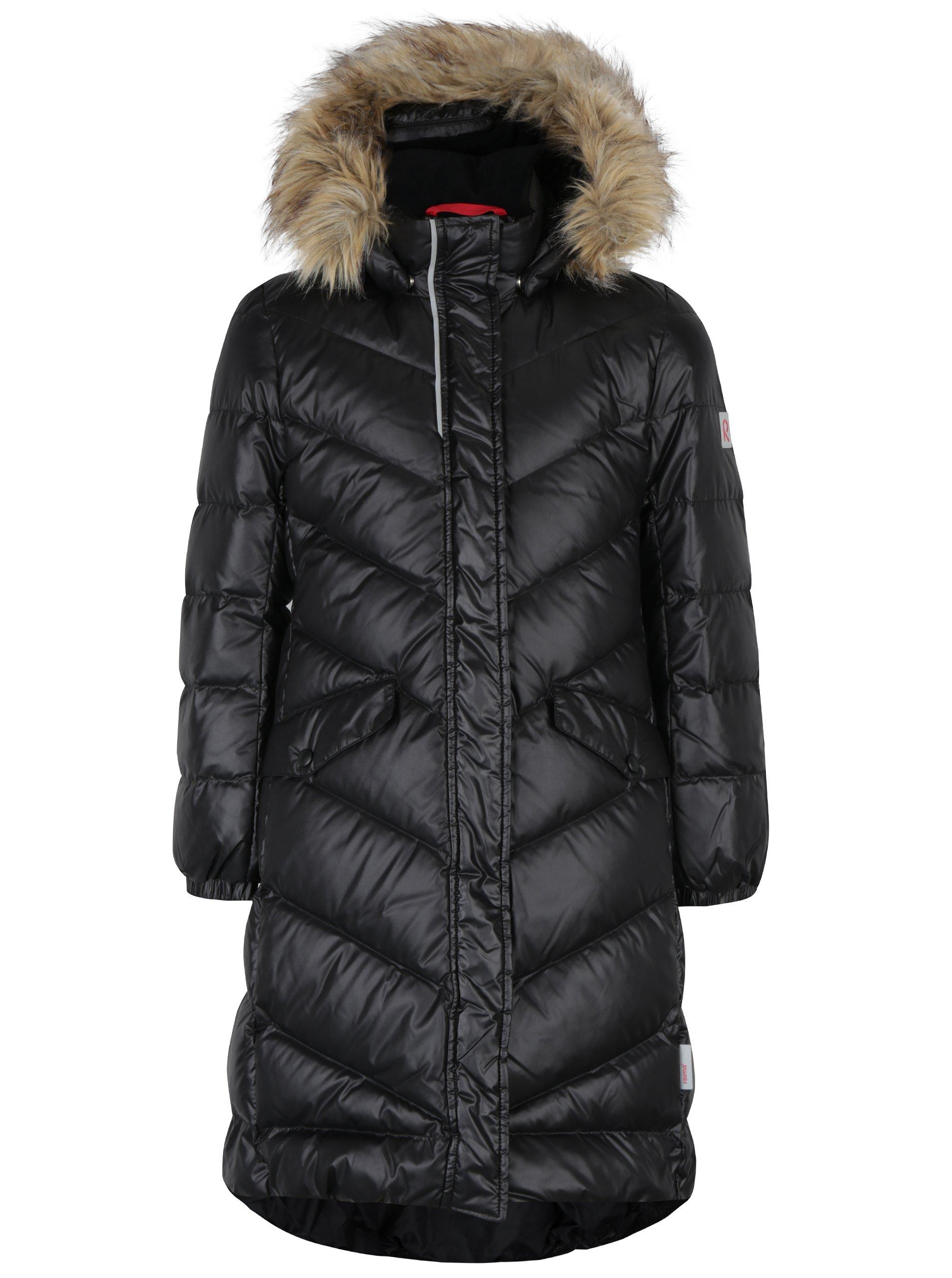 Černý holčičí prošívaný funkční péřový kabát s kapucí Reima Satu