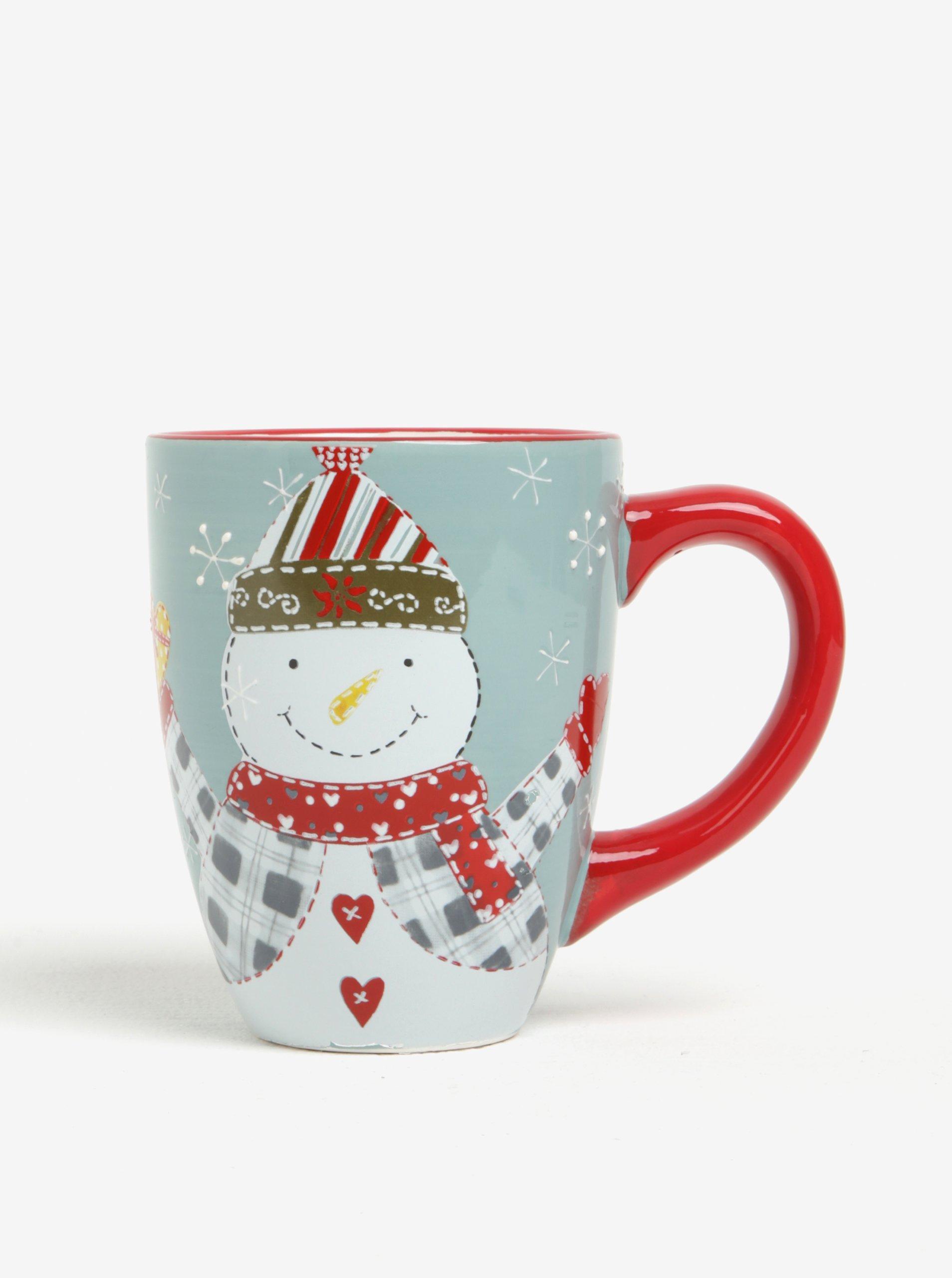 Červeno-bílý velký keramický hrnek s motivem sněhuláka Dakls