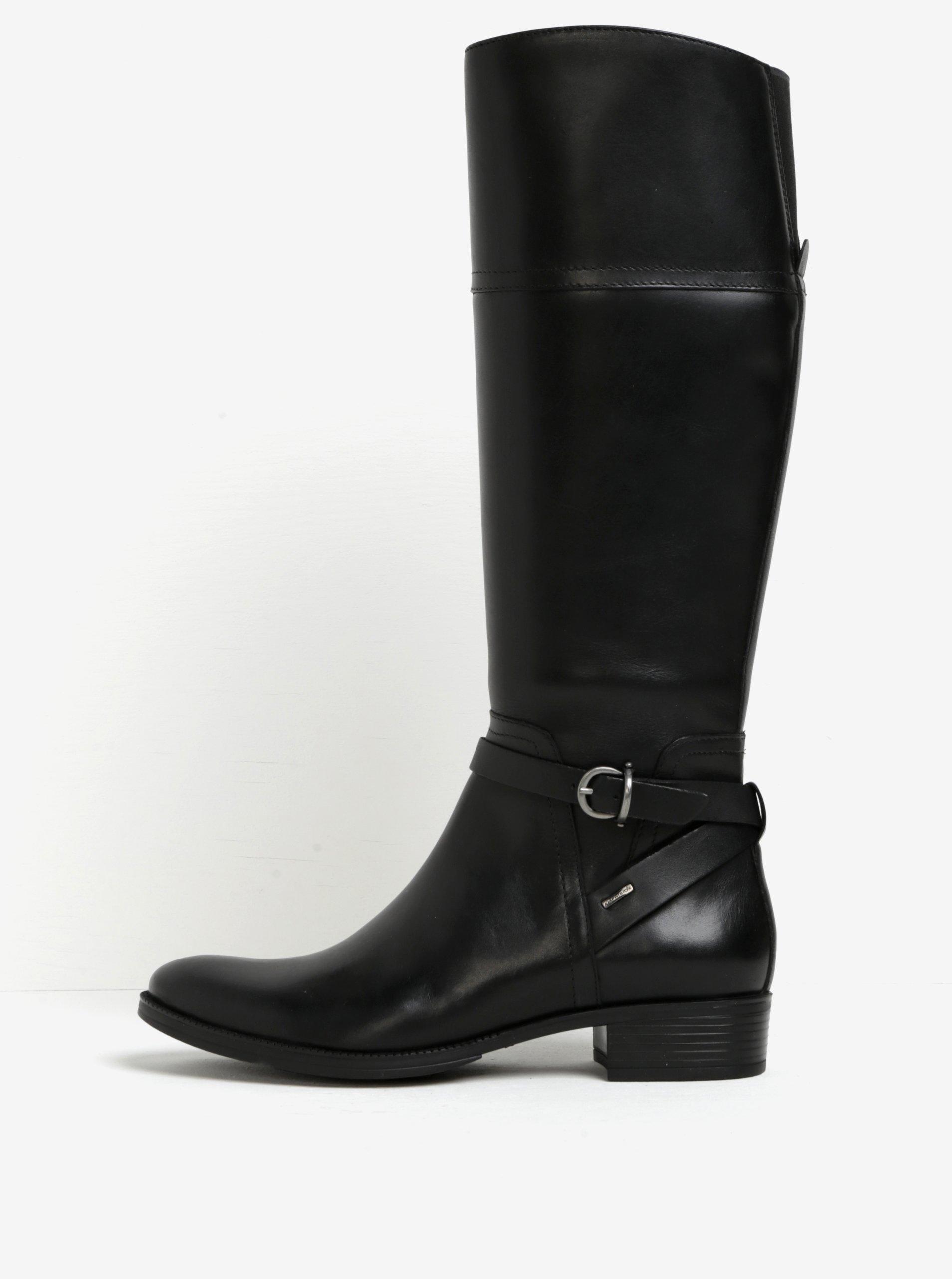 Čierne kožené čižmy s prackou Geox Meldi 9b244bd331a