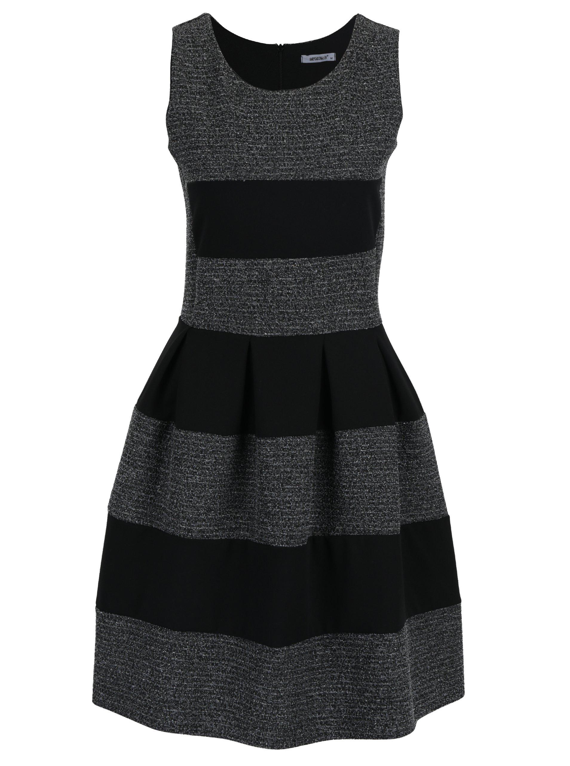 Šedo-černé pruhované šaty bez rukávů Haily´s Evelyn