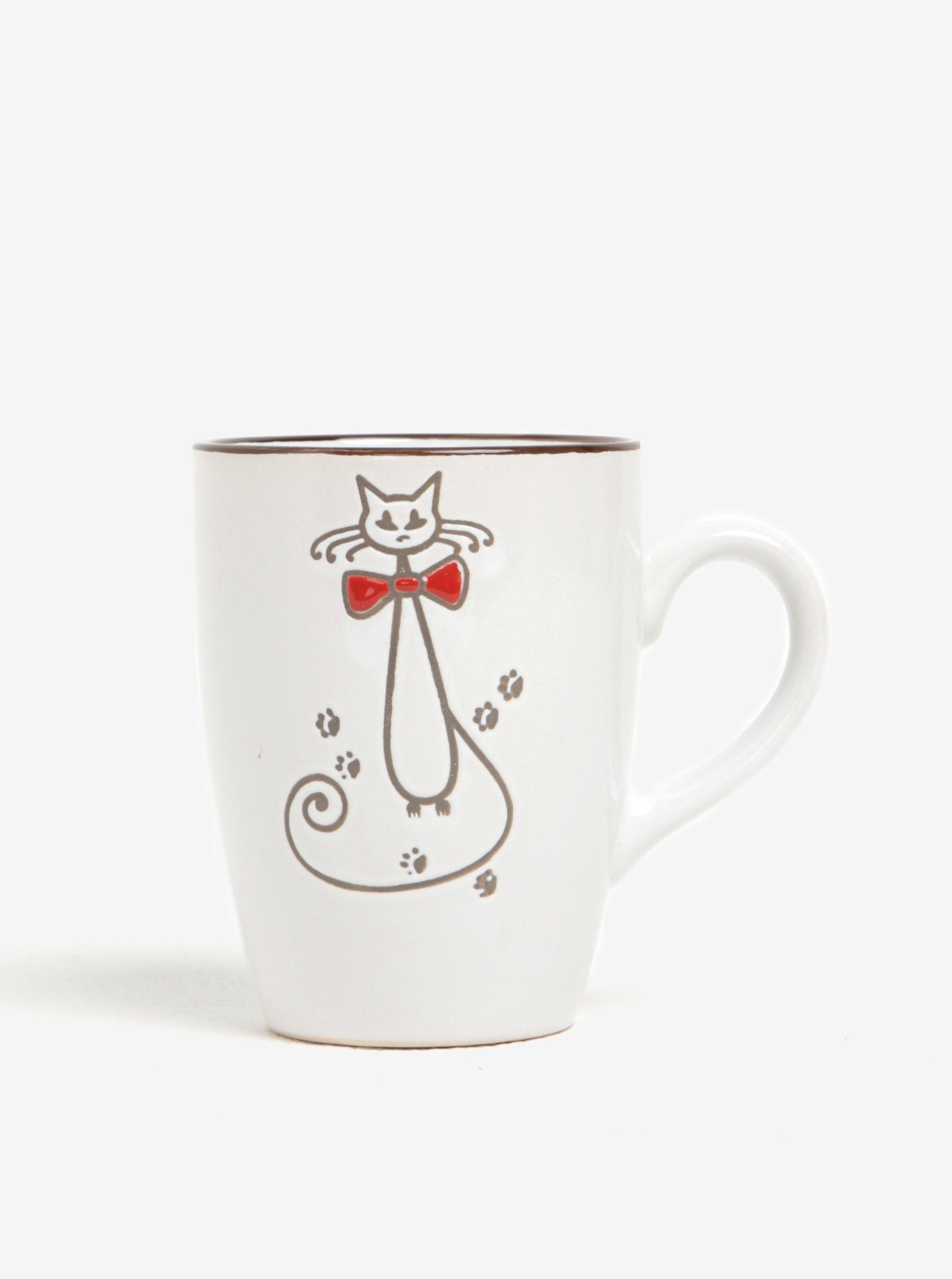 Krémový keramický hrnček s motívom mačky Dakls