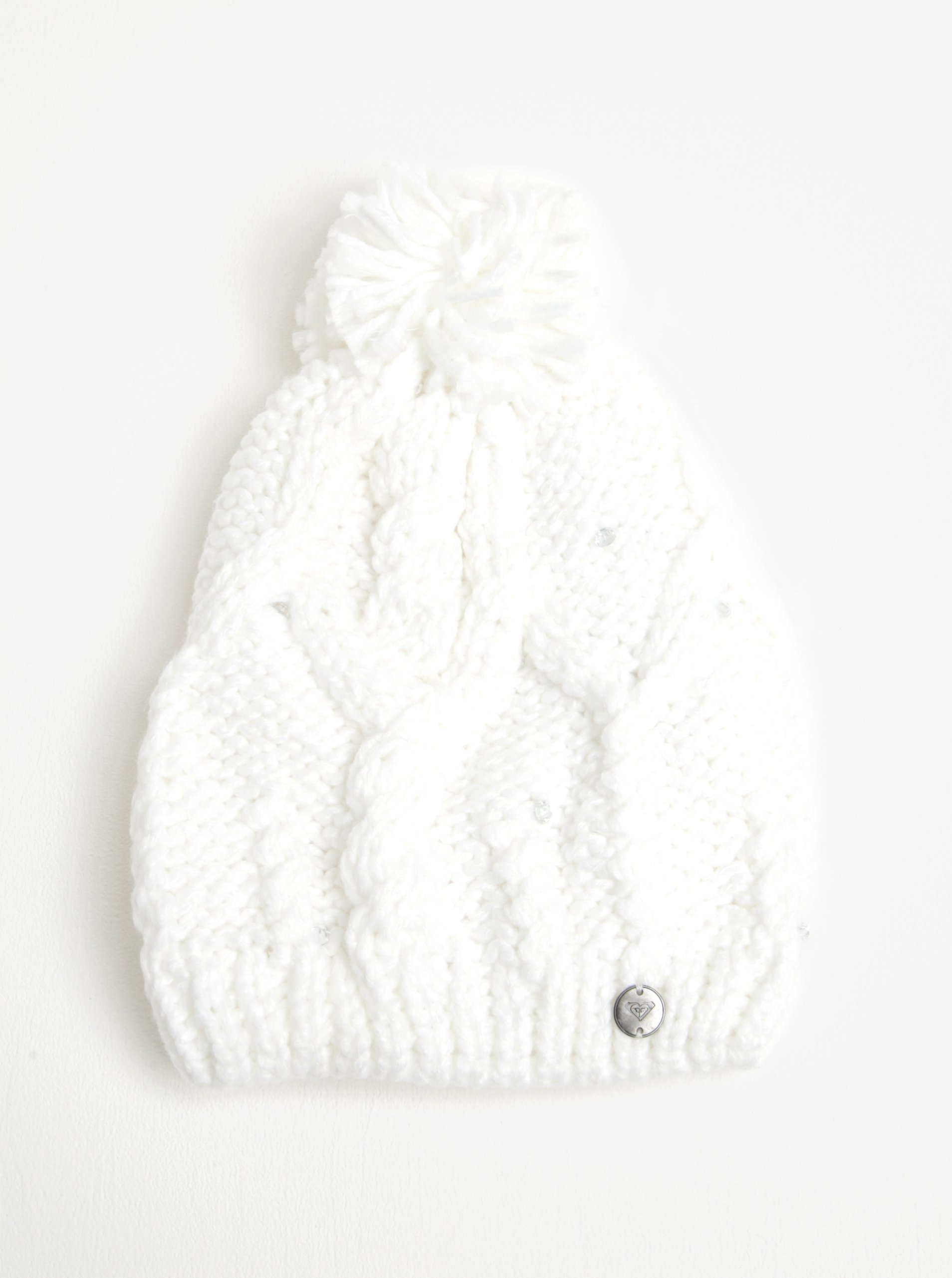 Bílá dámská pletená čepice s kamínky Roxy Shoot Star f14918167a
