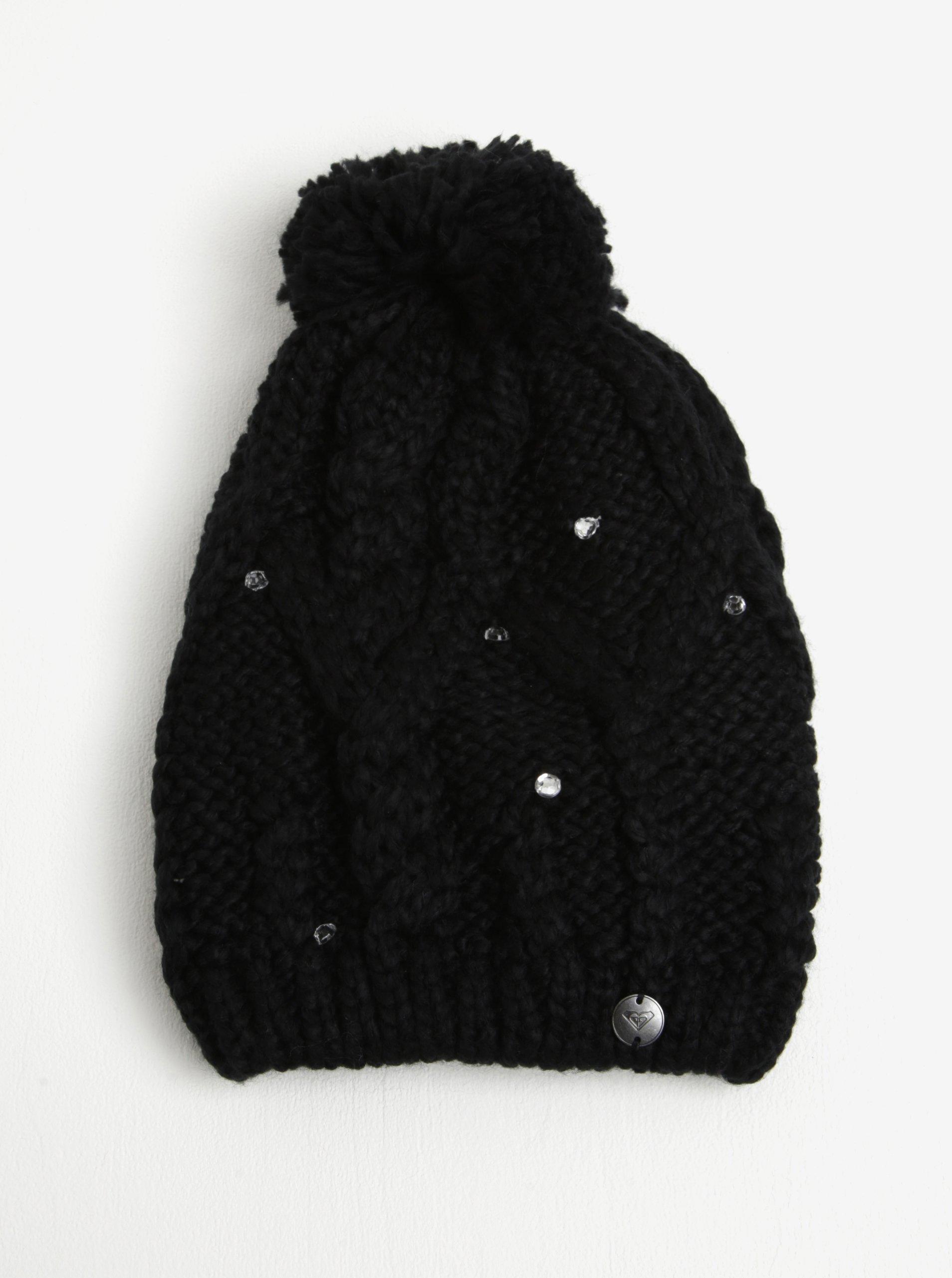 Černá dámská pletená čepice s kamínky Roxy Shoot Star