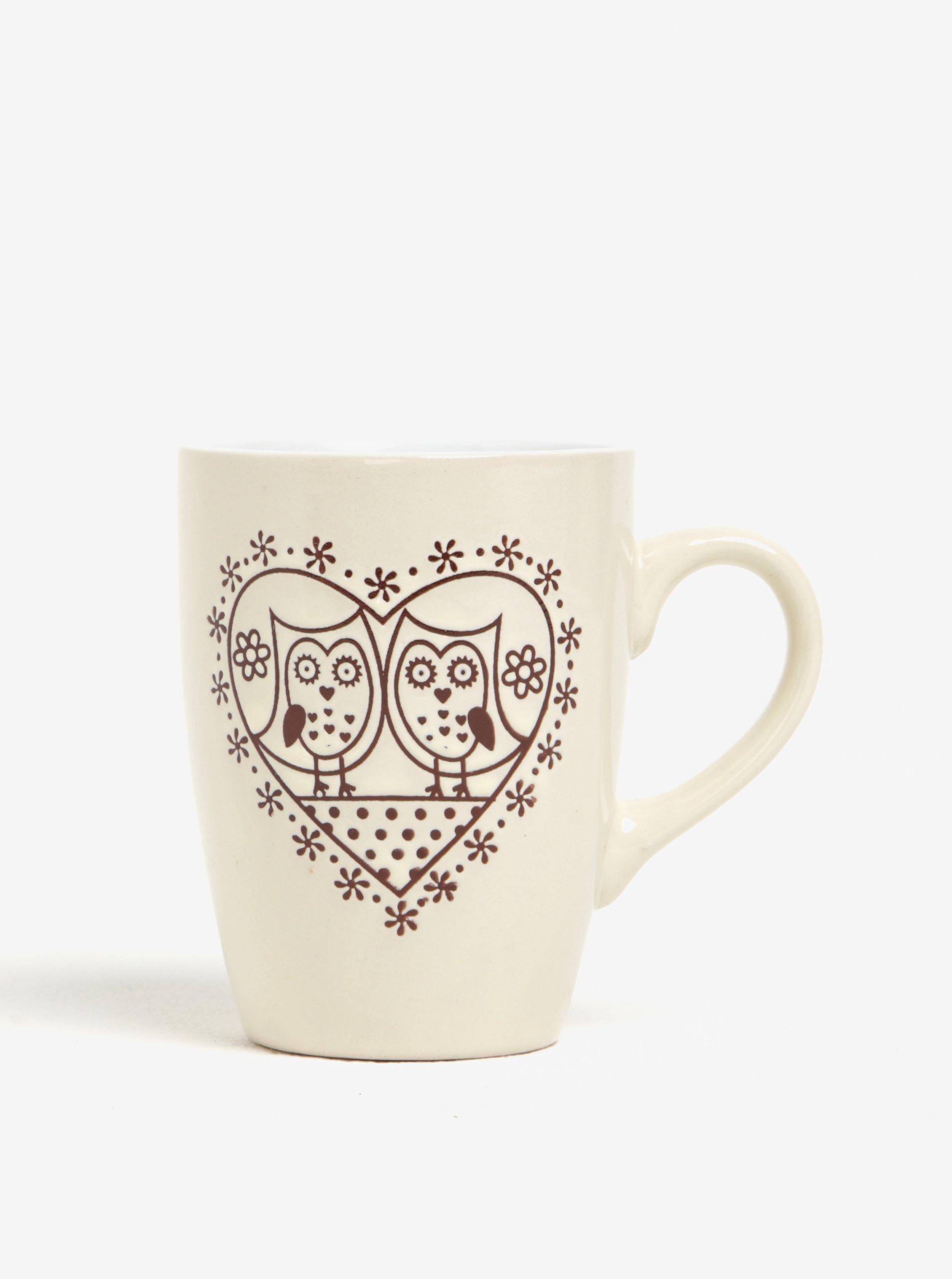 Krémový keramický hrnček s motívom sov v srdci Dakls