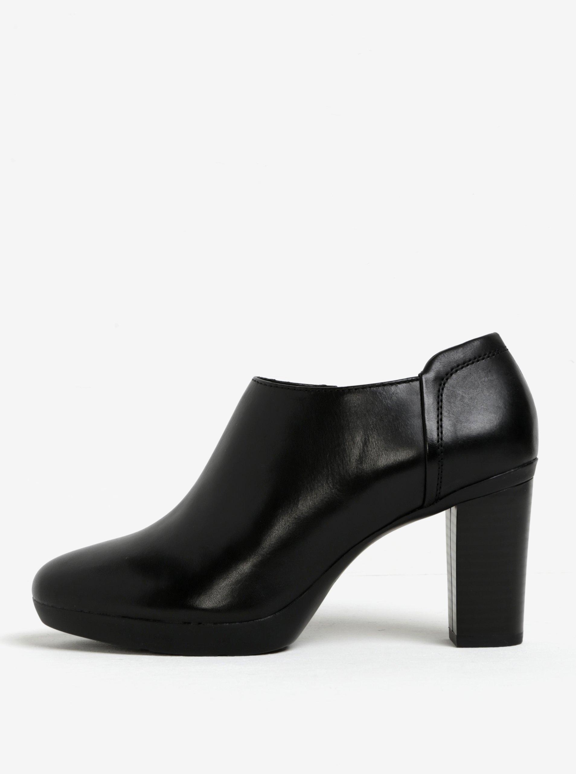 Černé kožené boty na podpatku Geox Inspirat