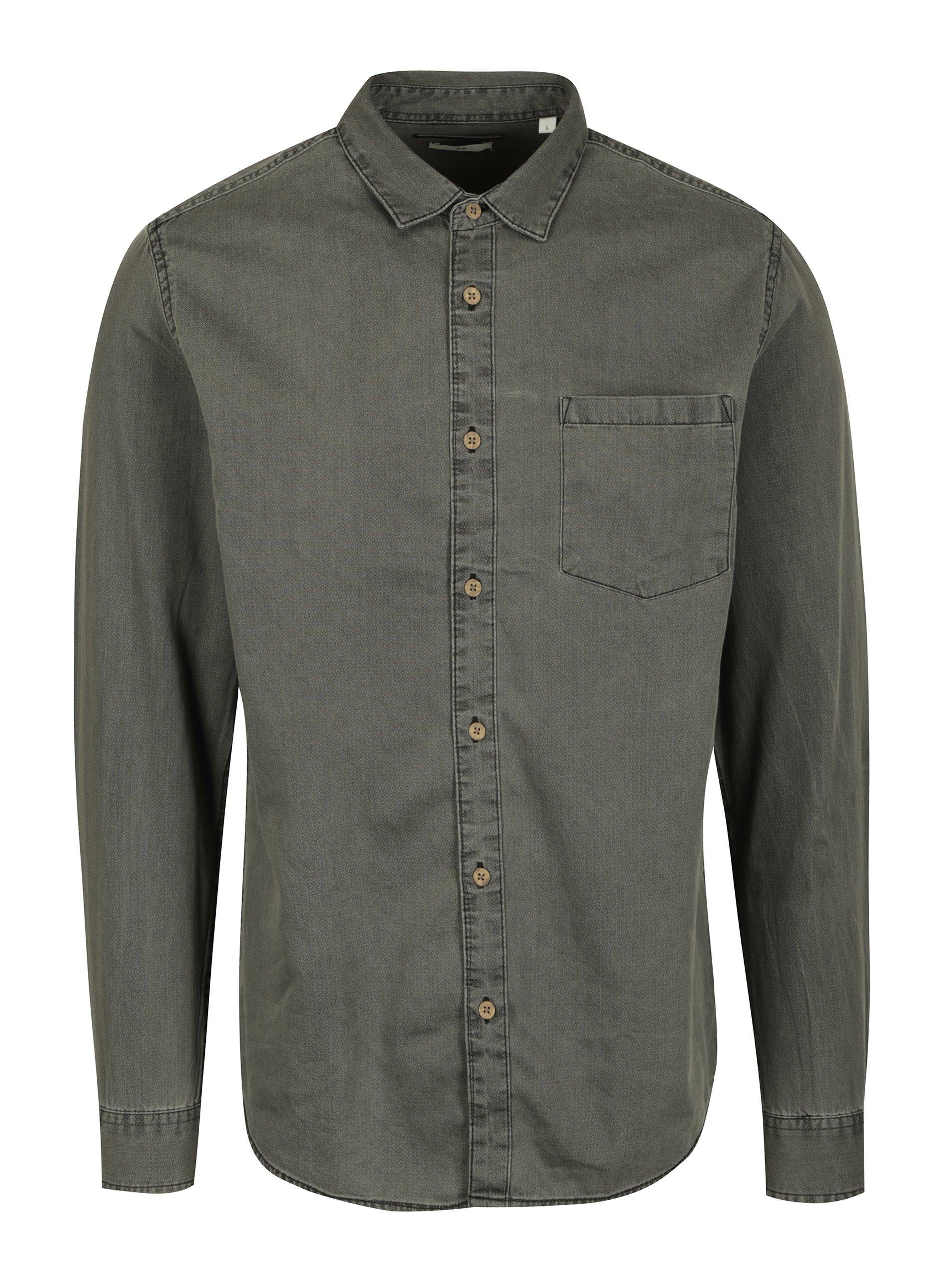 Šedá slim fit košile s náprsní kapsou ONLY & SONS Tonni