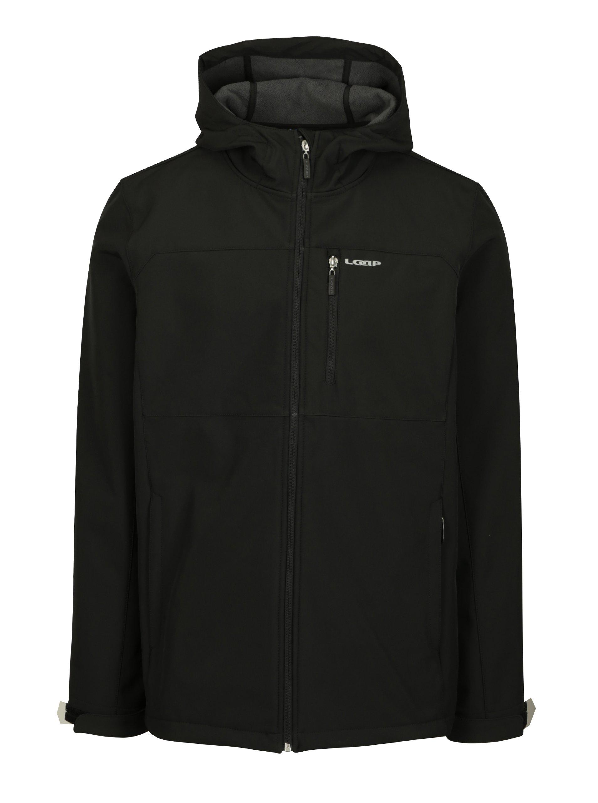 Černá pánská softshellová voděodolná bunda s kapucí LOAP Lutek