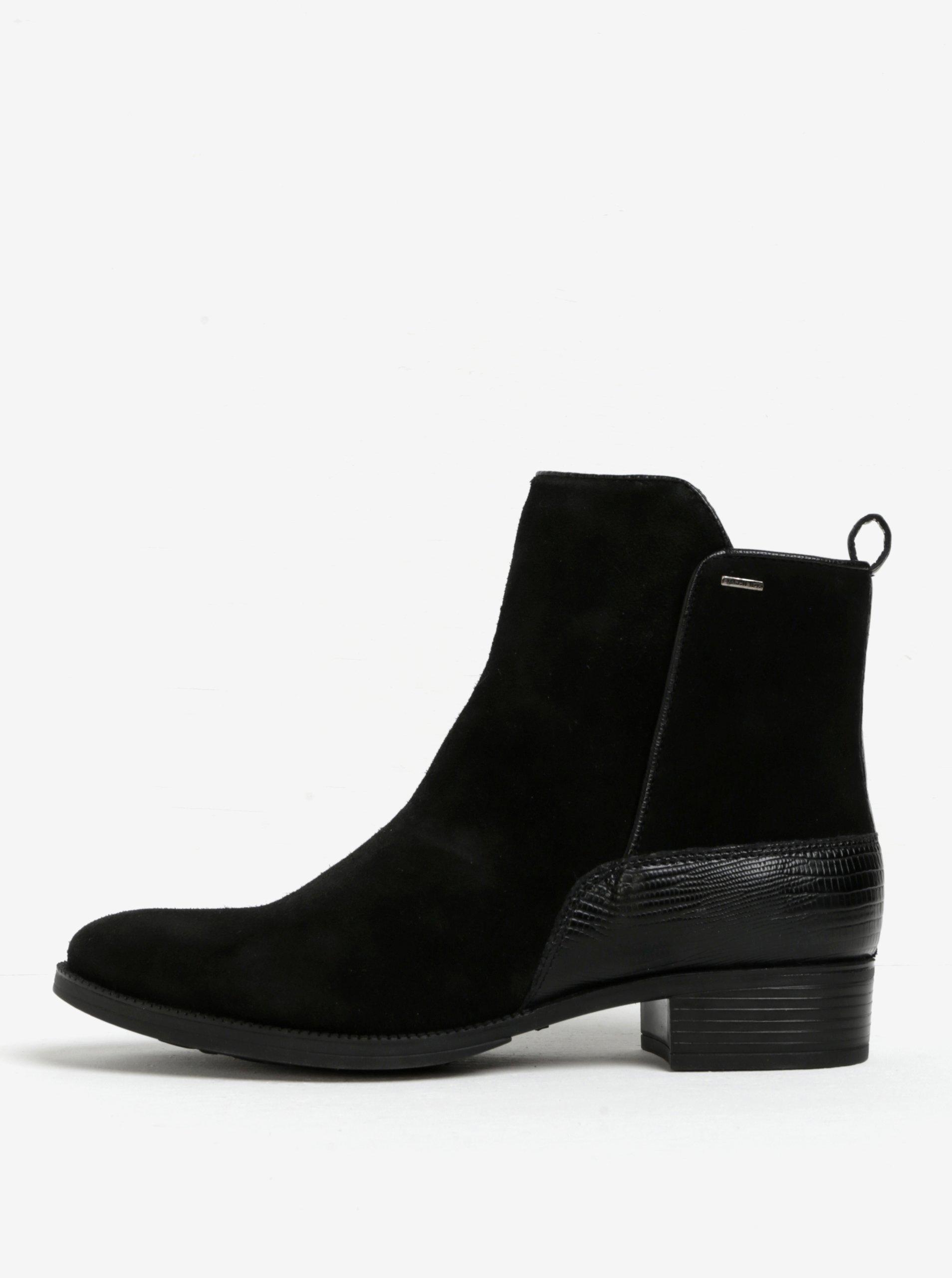 Černé dámské semišové kotníkové boty Geox Mendi