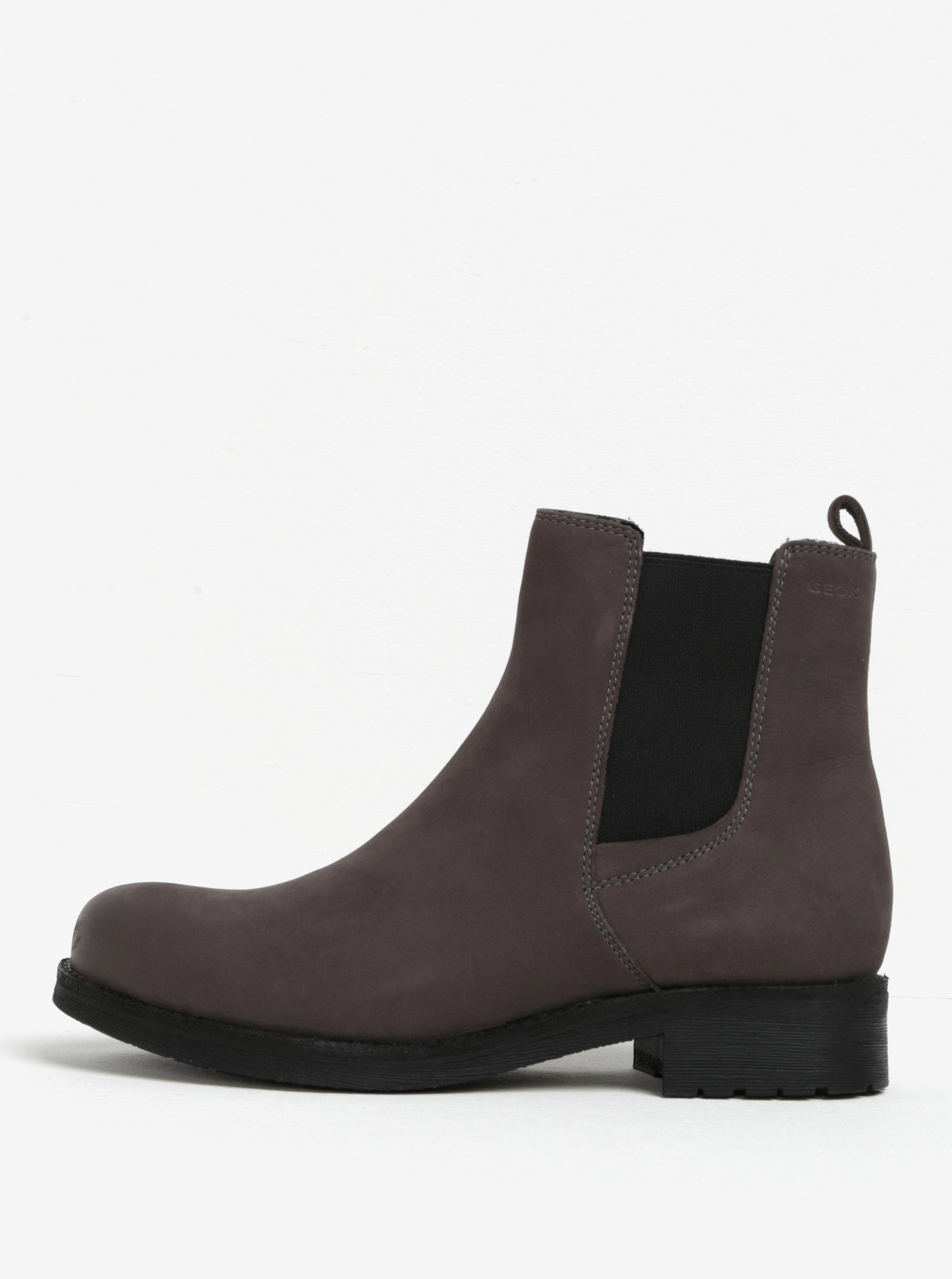 Tmavě šedé dámské kožené chelsea boty Geox New Virna
