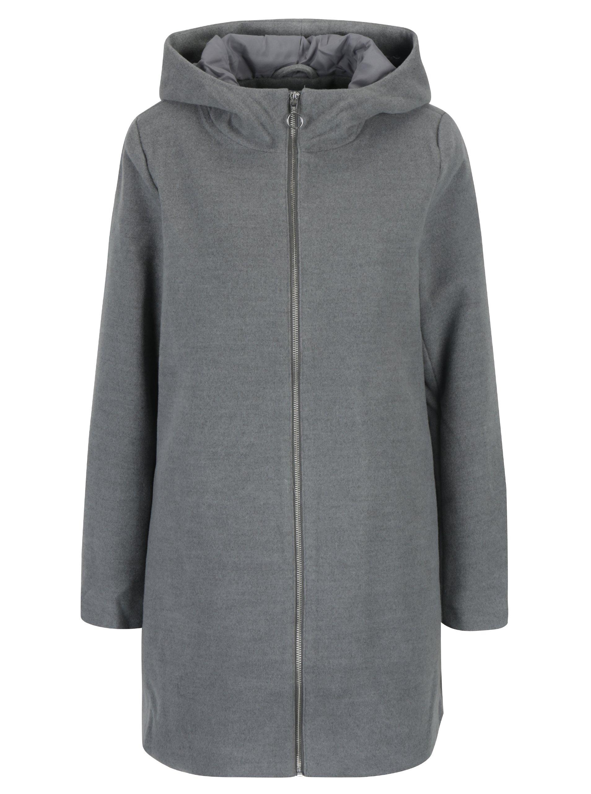 Šedý kabát s kapucí VILA Daniella