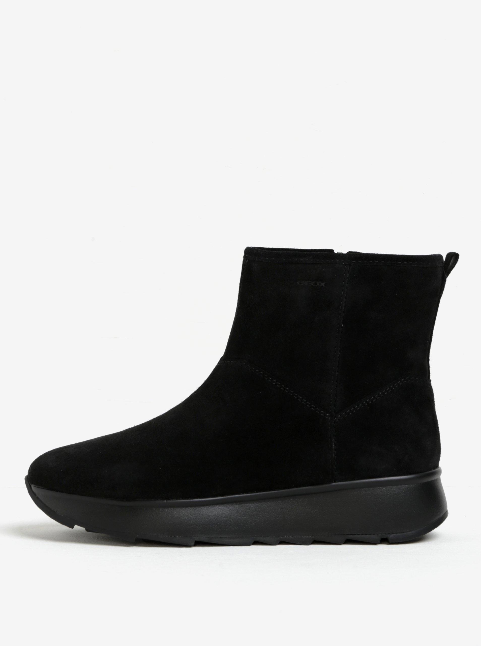 Černé dámské semišové kotníkové boty Geox Gendry
