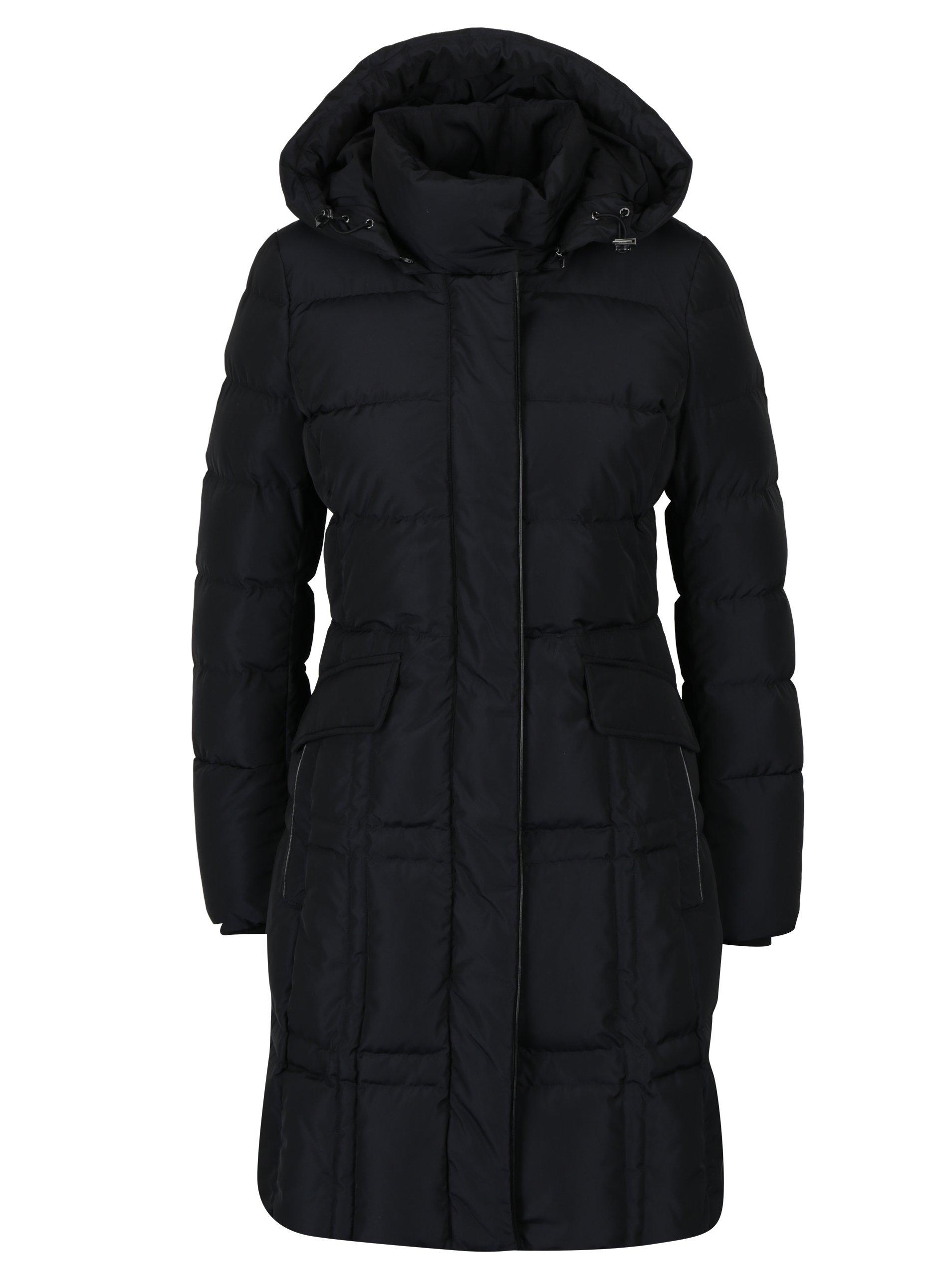 Černý dámský prošívaný kabát Geox