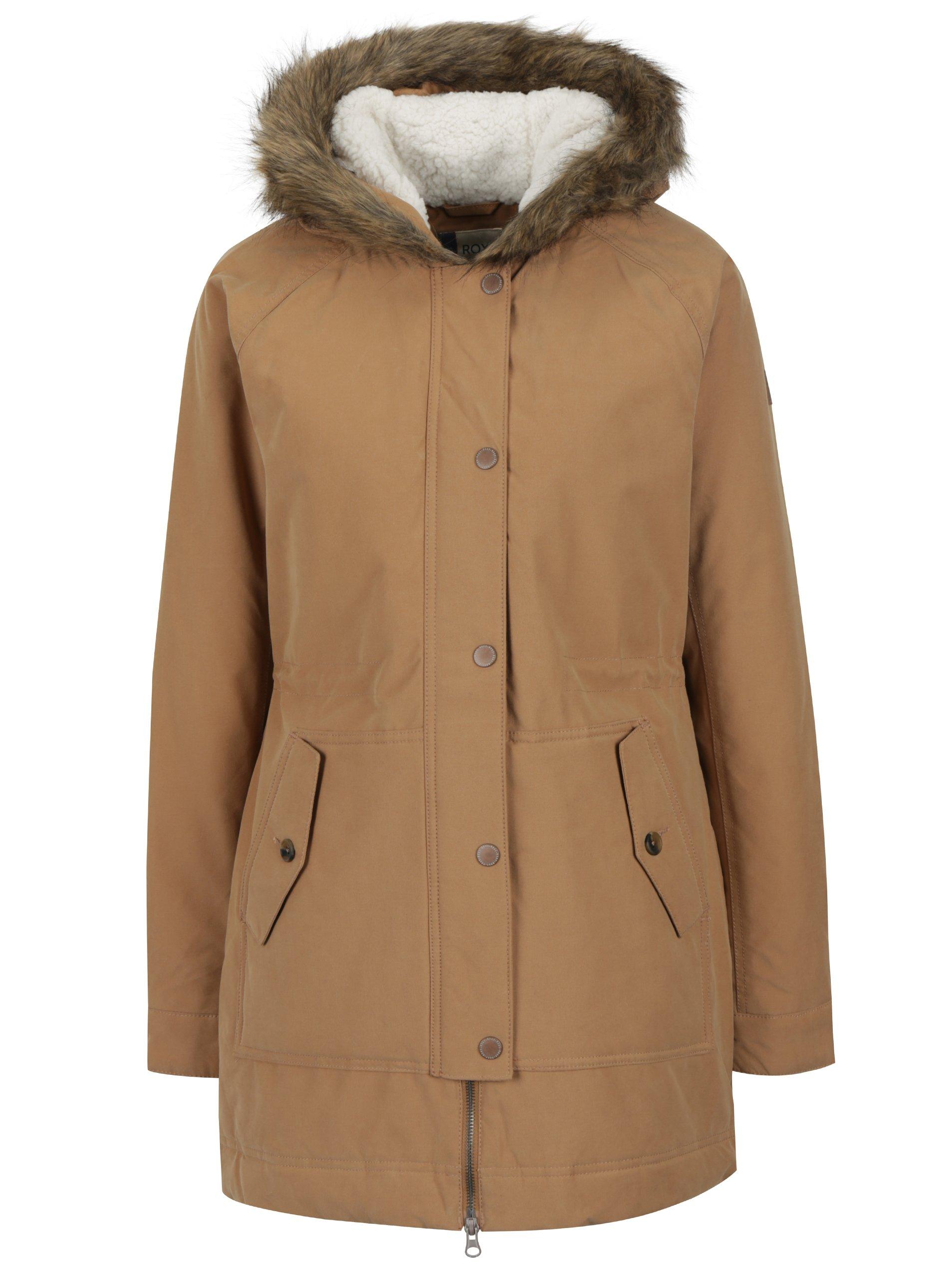 Světle hnědý dámský zimní kabát s umělým kožíškem Roxy Mountain