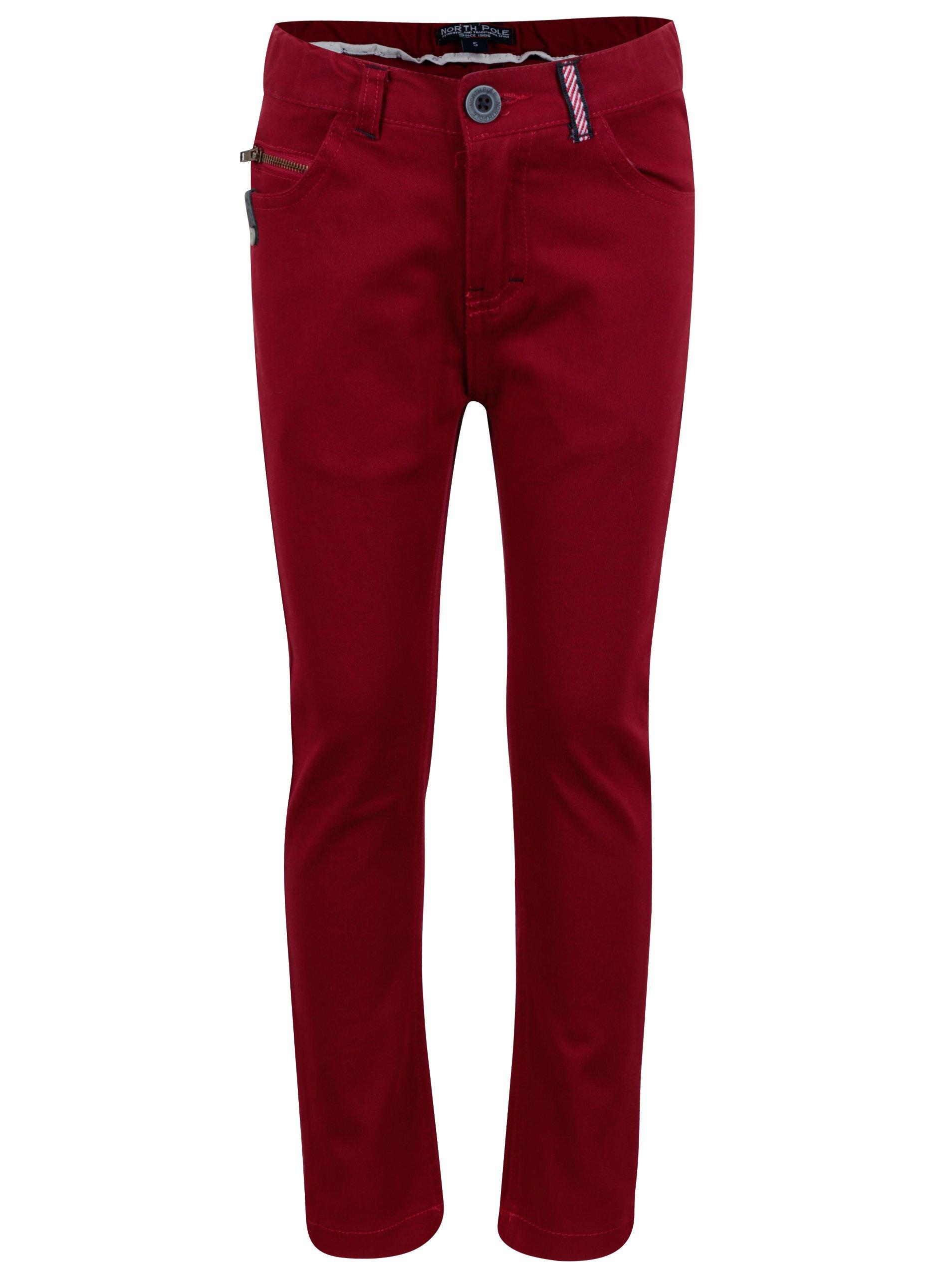 Červené klučičí kalhoty s nášivkou North Pole Kids