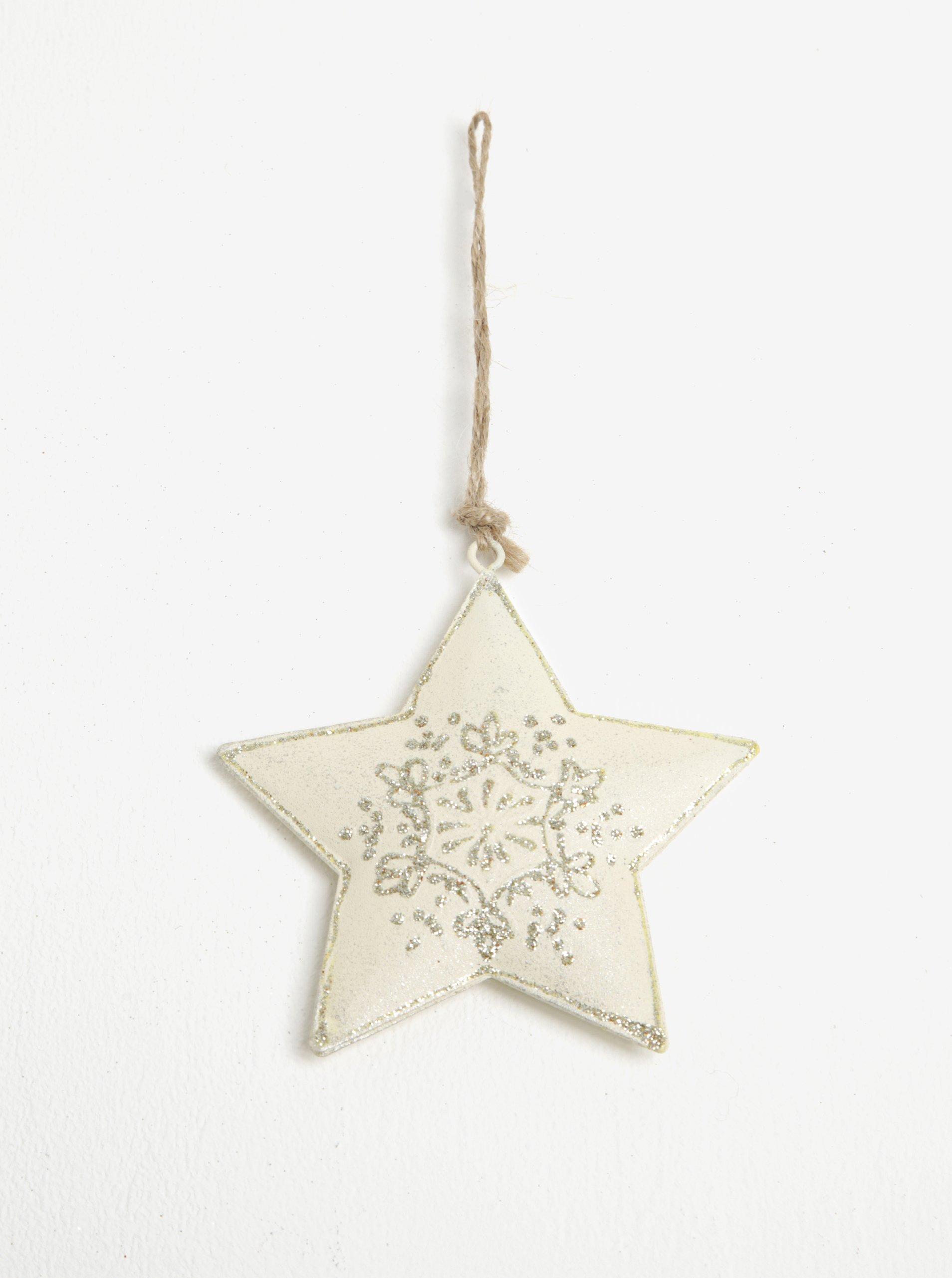 Sada dvou kusů závěsné kovové dekorace ve tvaru hvězdy v krémové barvě Dakls