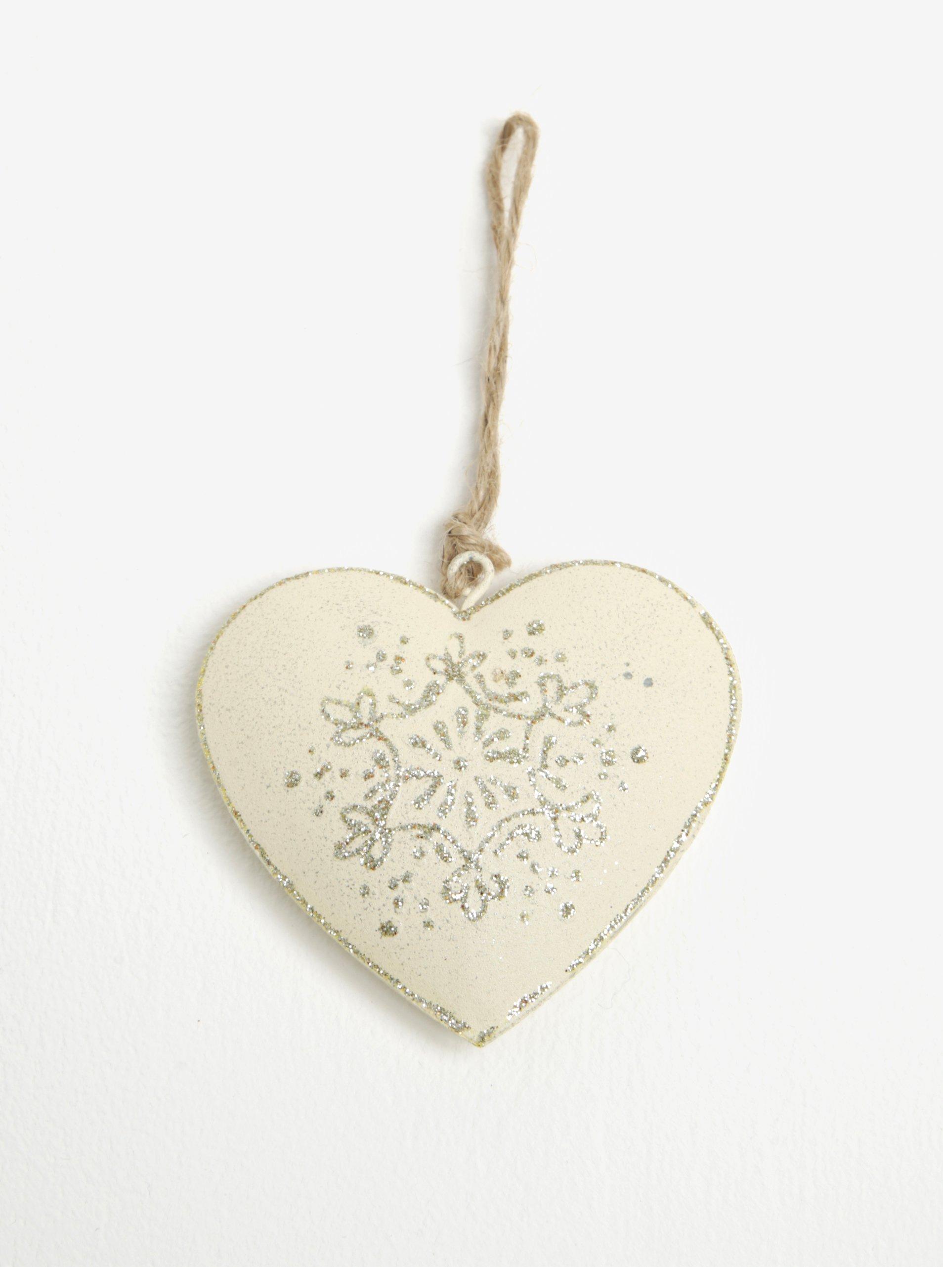 Sada dvou kusů závěsné kovové dekorace ve tvaru srdce v krémové barvě Dakls