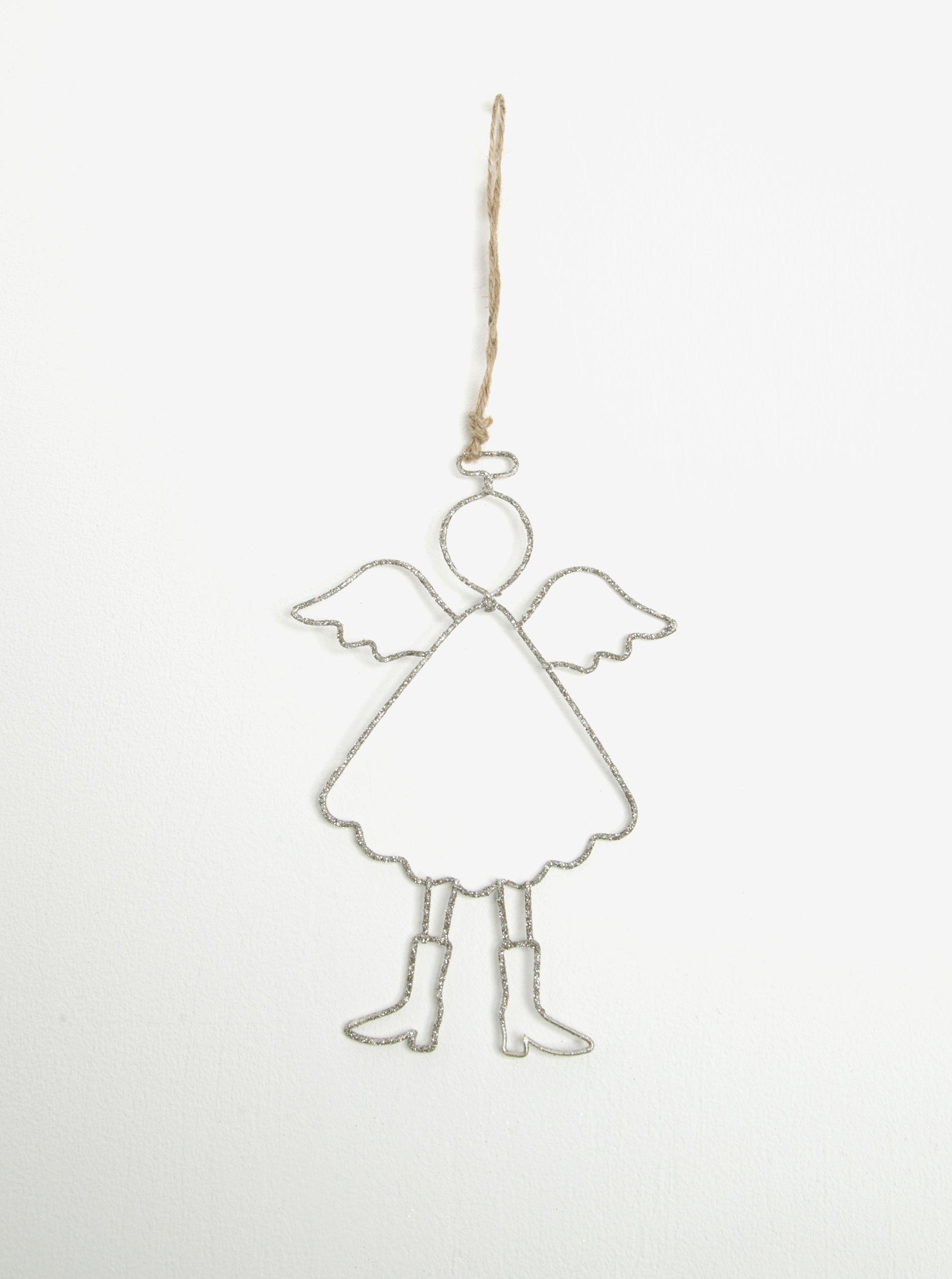 Set dvou kusů závěsné dekorace ve tvaru anděla se třpytkami Dakls